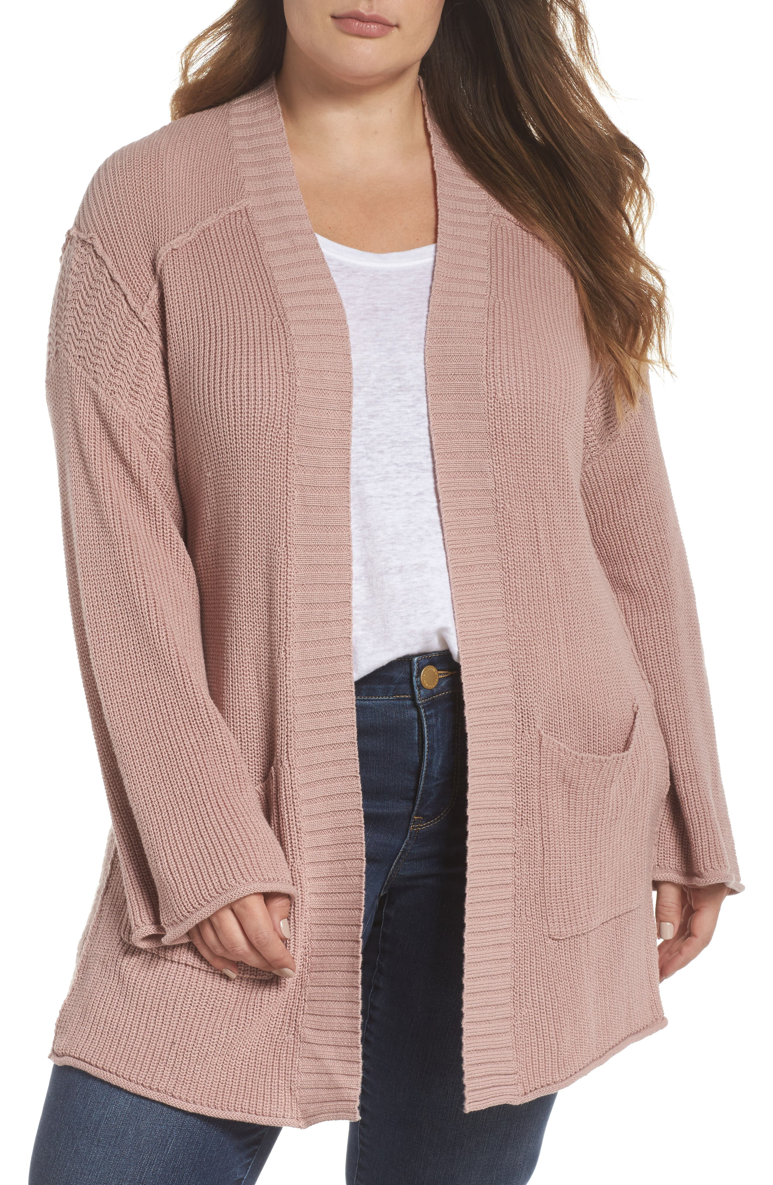 Sweater Knit Cardigan,                         Main,                         color, Pink Adobe