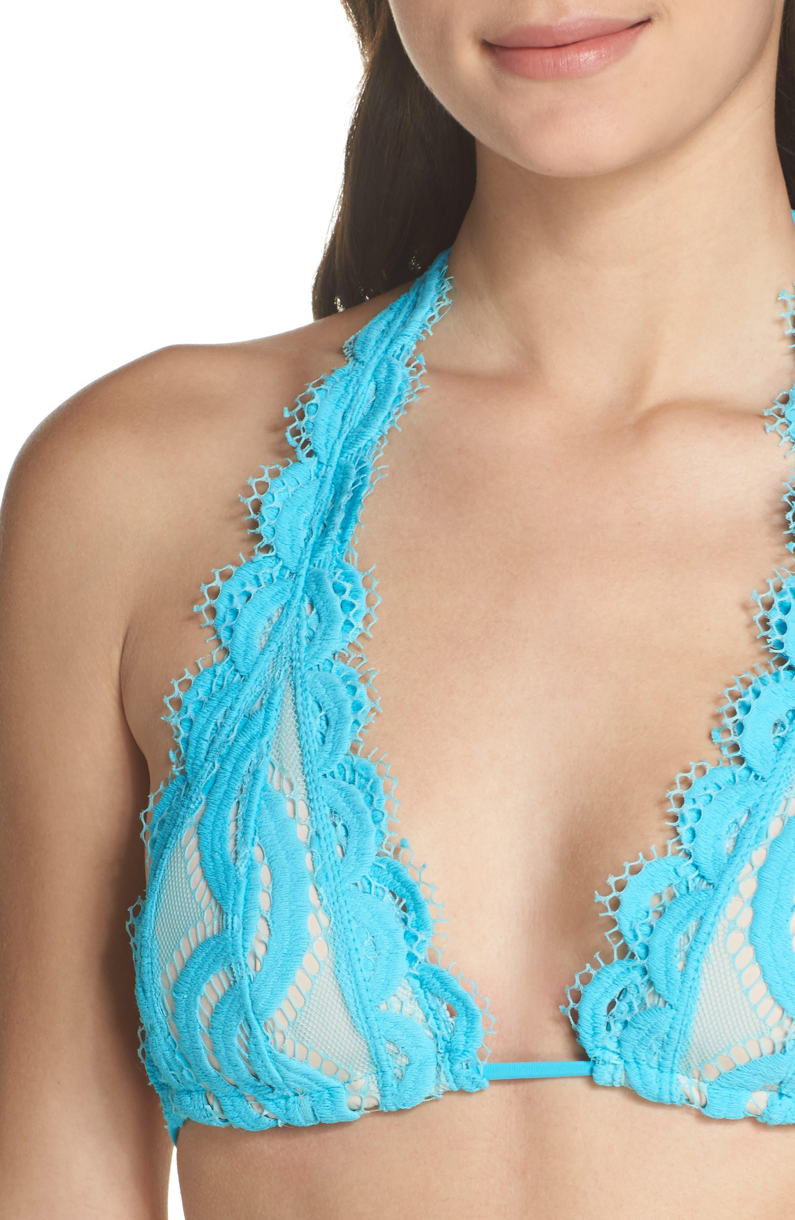Lace Halter Bikini Top,                             Alternate thumbnail 4, color,                             Marine