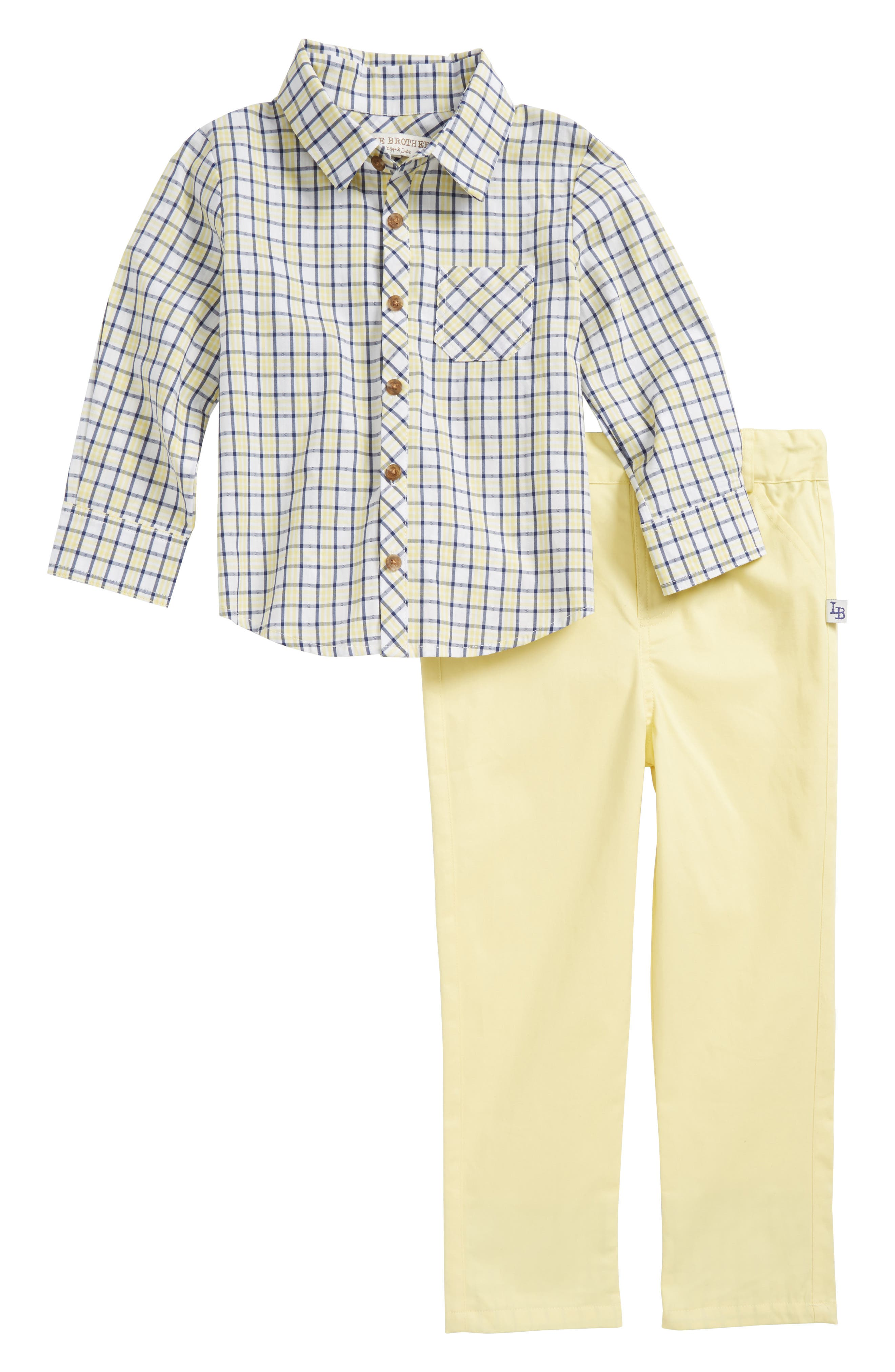 Plaid Top & Pants Set,                         Main,                         color, Yellow/ Blue