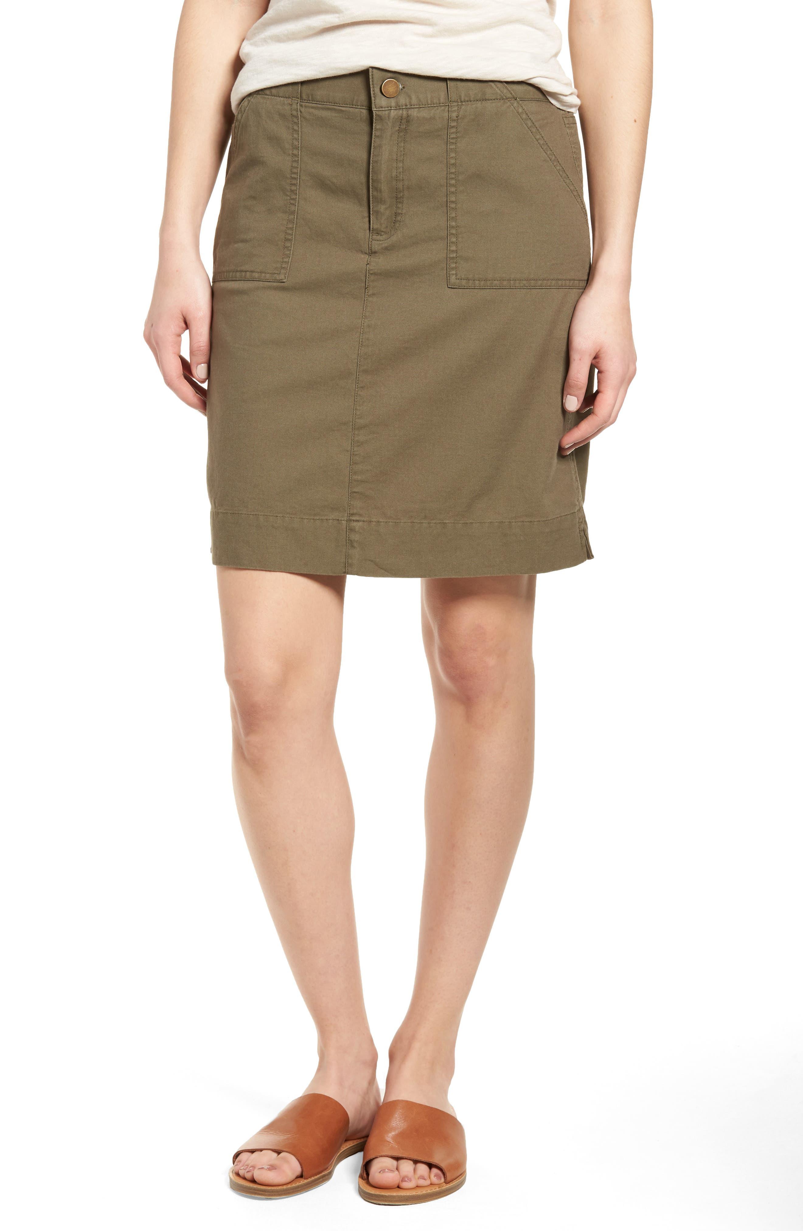 Caslon® Twill Utility Skirt (Regular & Petite)