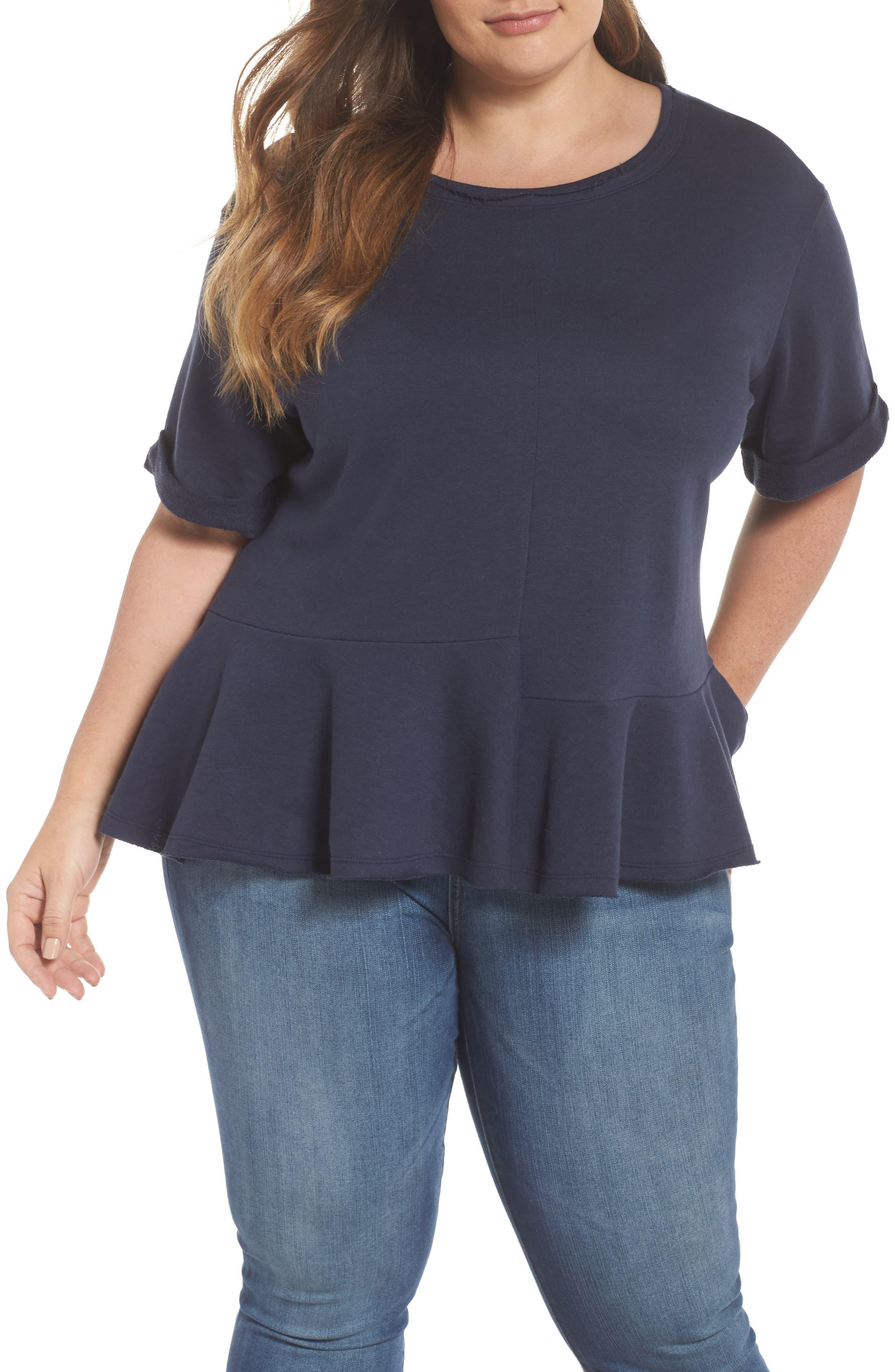 Mixed Seam Ruffle Sweatshirt,                         Main,                         color, Navy Indigo