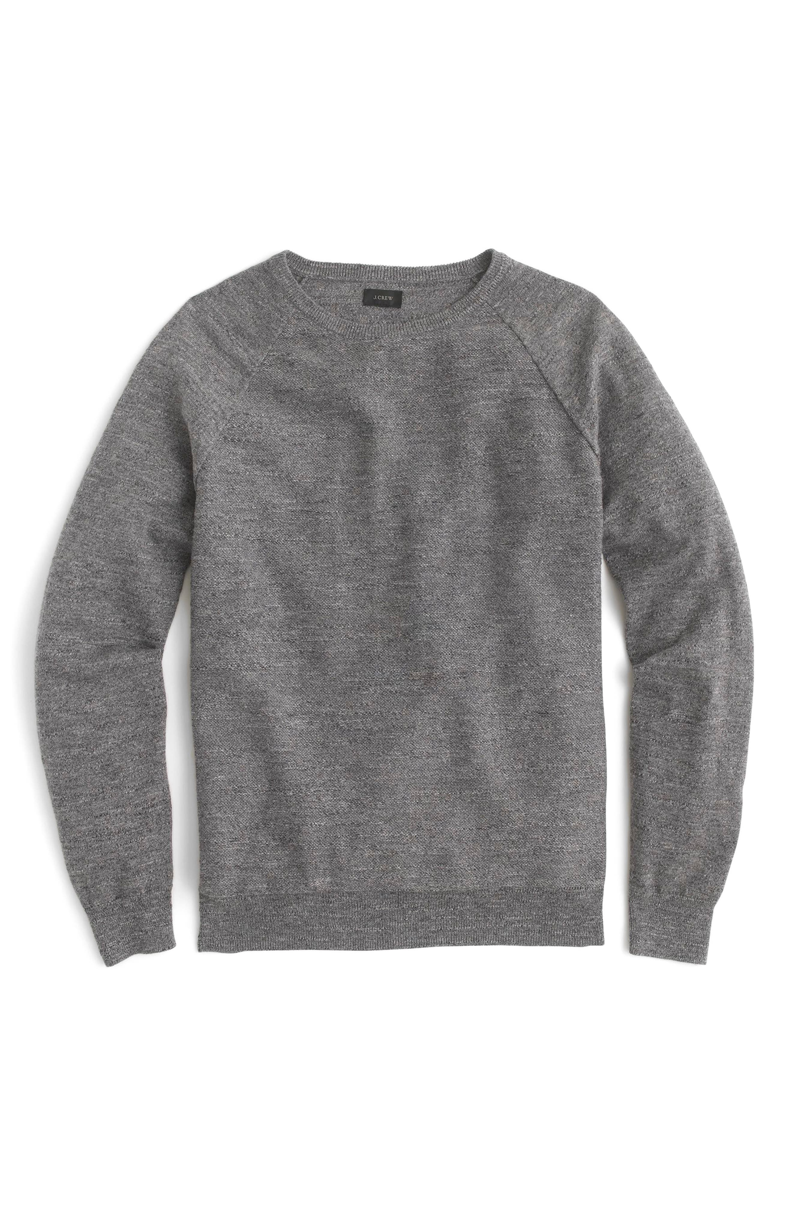 Slim Rugged Cotton Sweater,                         Main,                         color, Heather Pewter