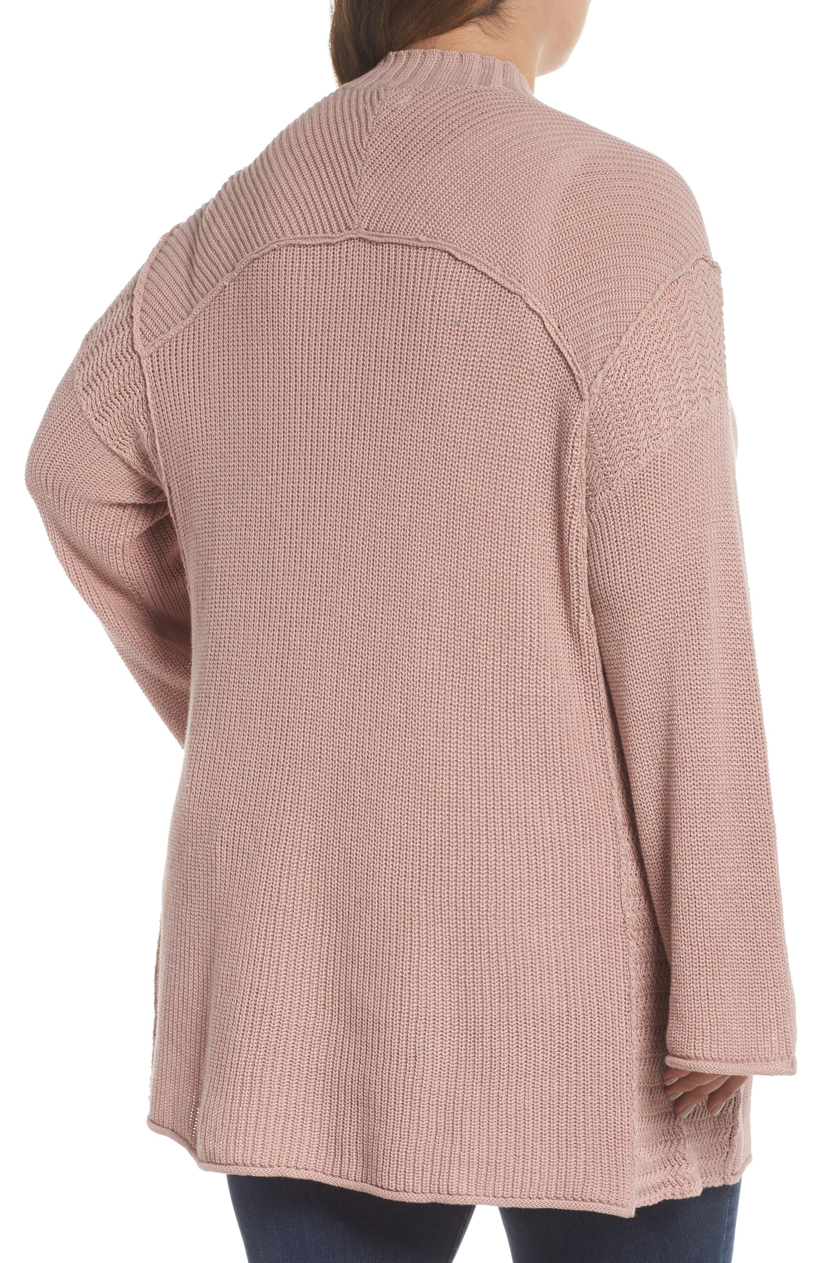 Sweater Knit Cardigan,                             Alternate thumbnail 2, color,                             Pink Adobe