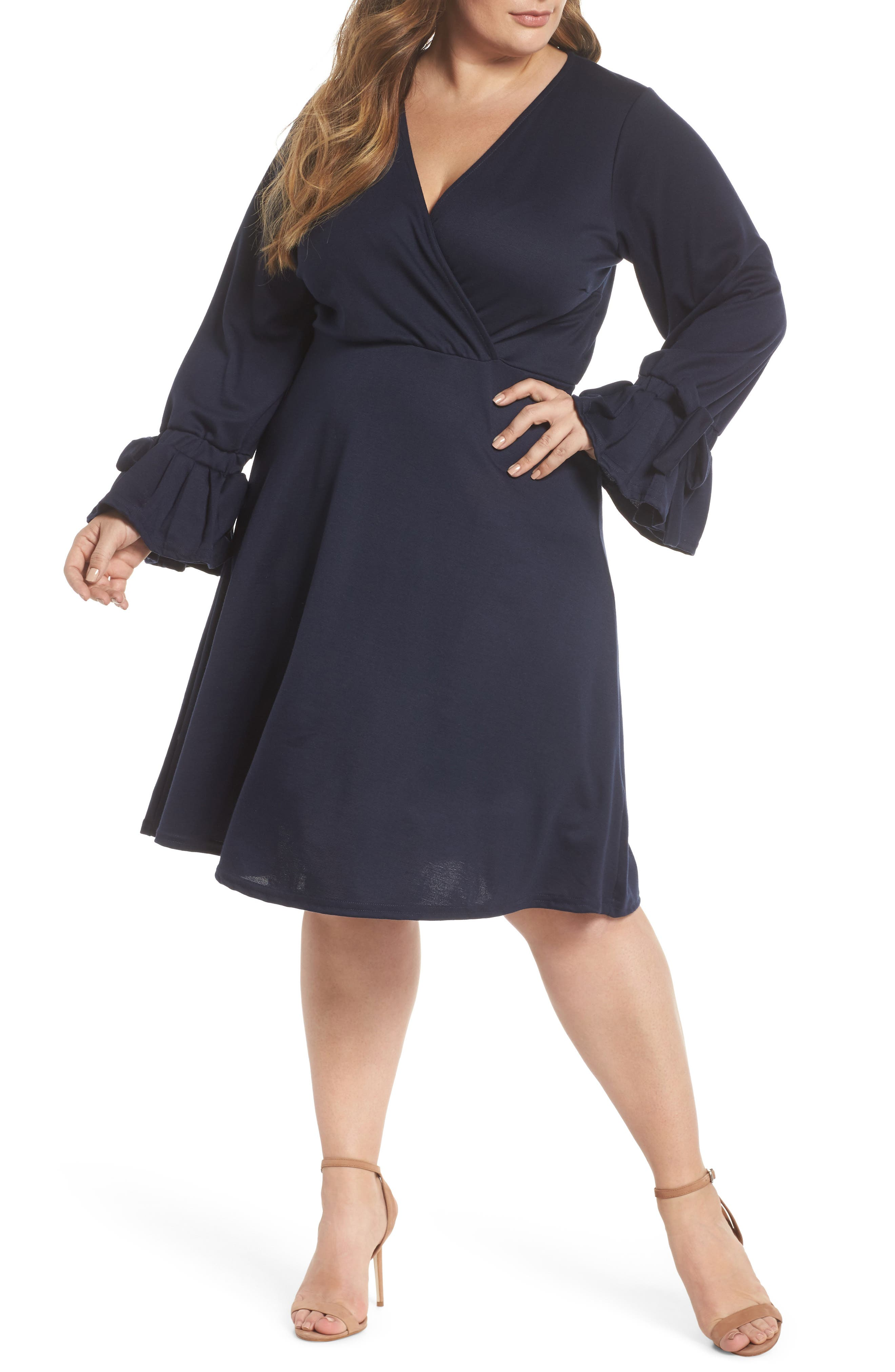Bell Sleeve Fit & Flare Dress,                         Main,                         color, Navy