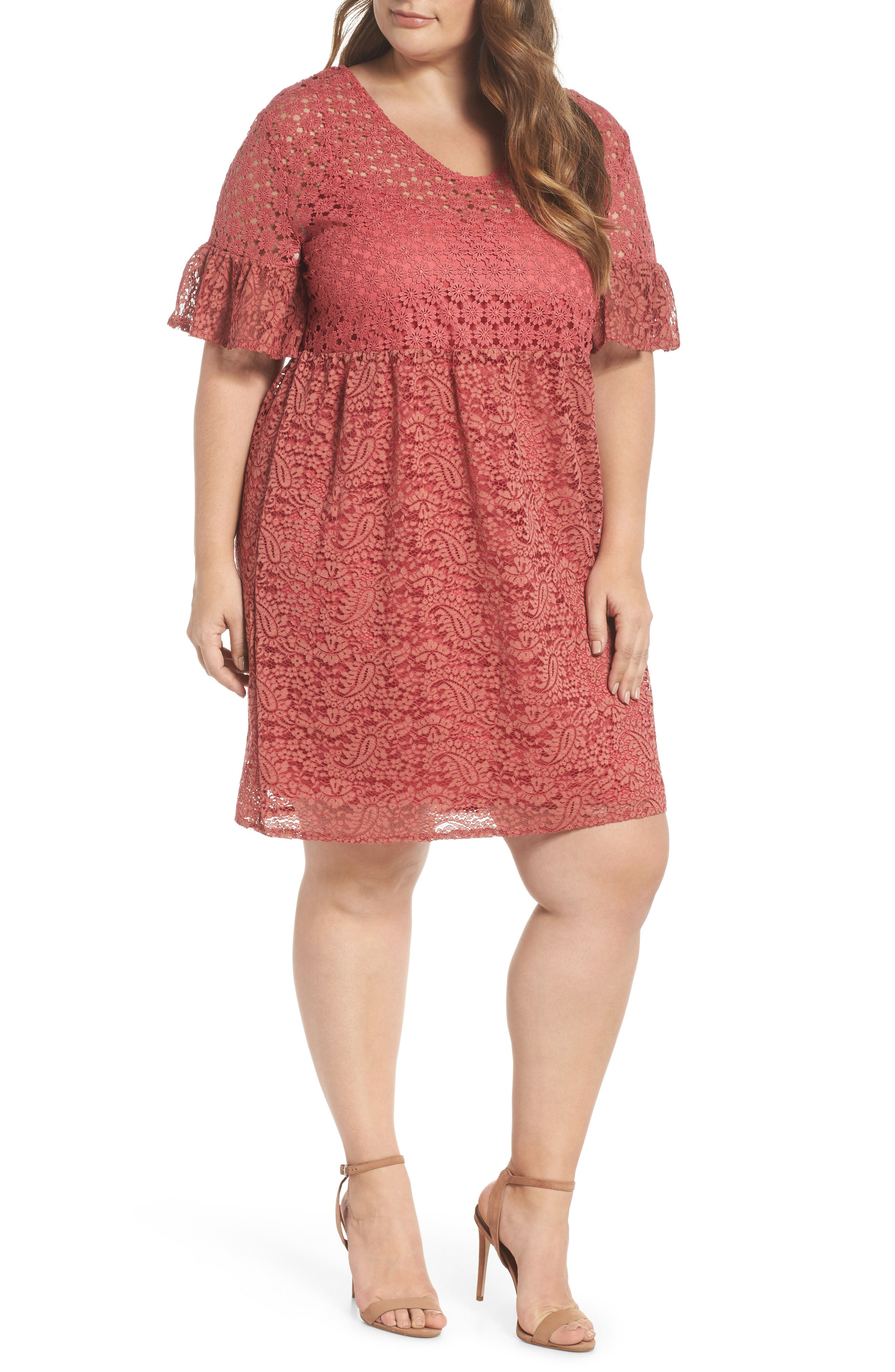 LOST INK Bell Sleeve Mixed Lace Fit & Flare Dress (Plus Size)