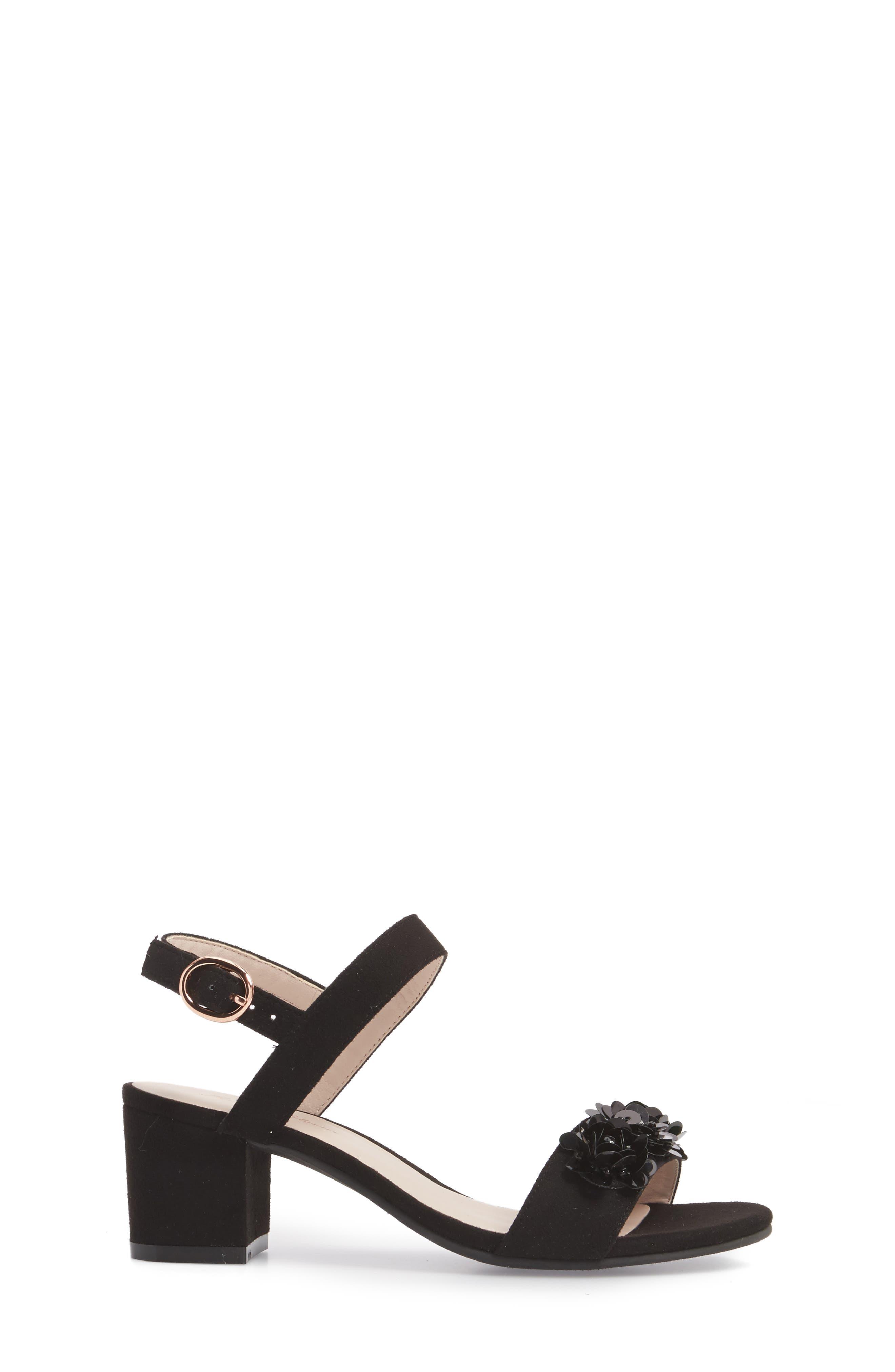Dina Floral Embellished Sandal,                             Alternate thumbnail 3, color,                             Black Fabric