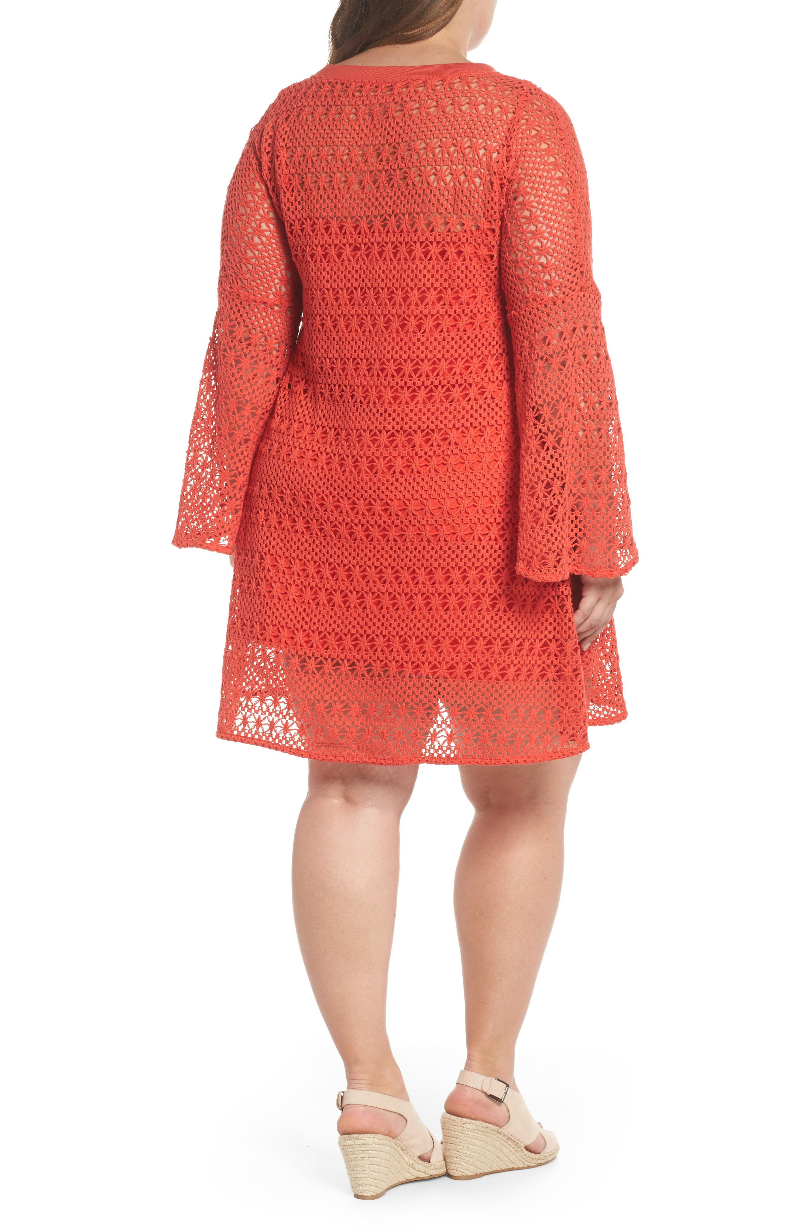 The Dahlia Bell Sleeve Crochet Shift Dress,                             Alternate thumbnail 2, color,                             Red