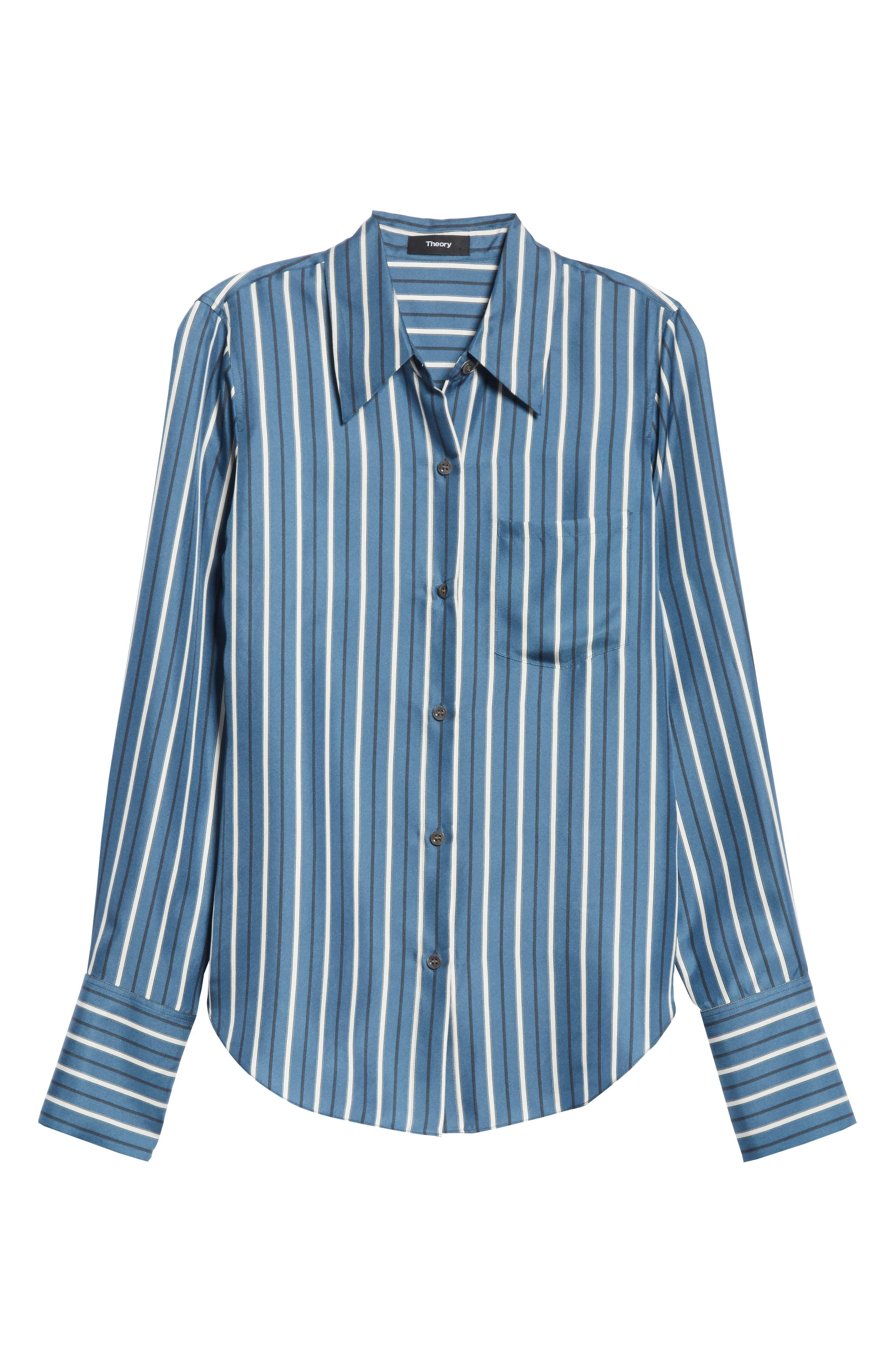 Darby Silk Button Shirt,                             Alternate thumbnail 6, color,                             Light Santorini Blue