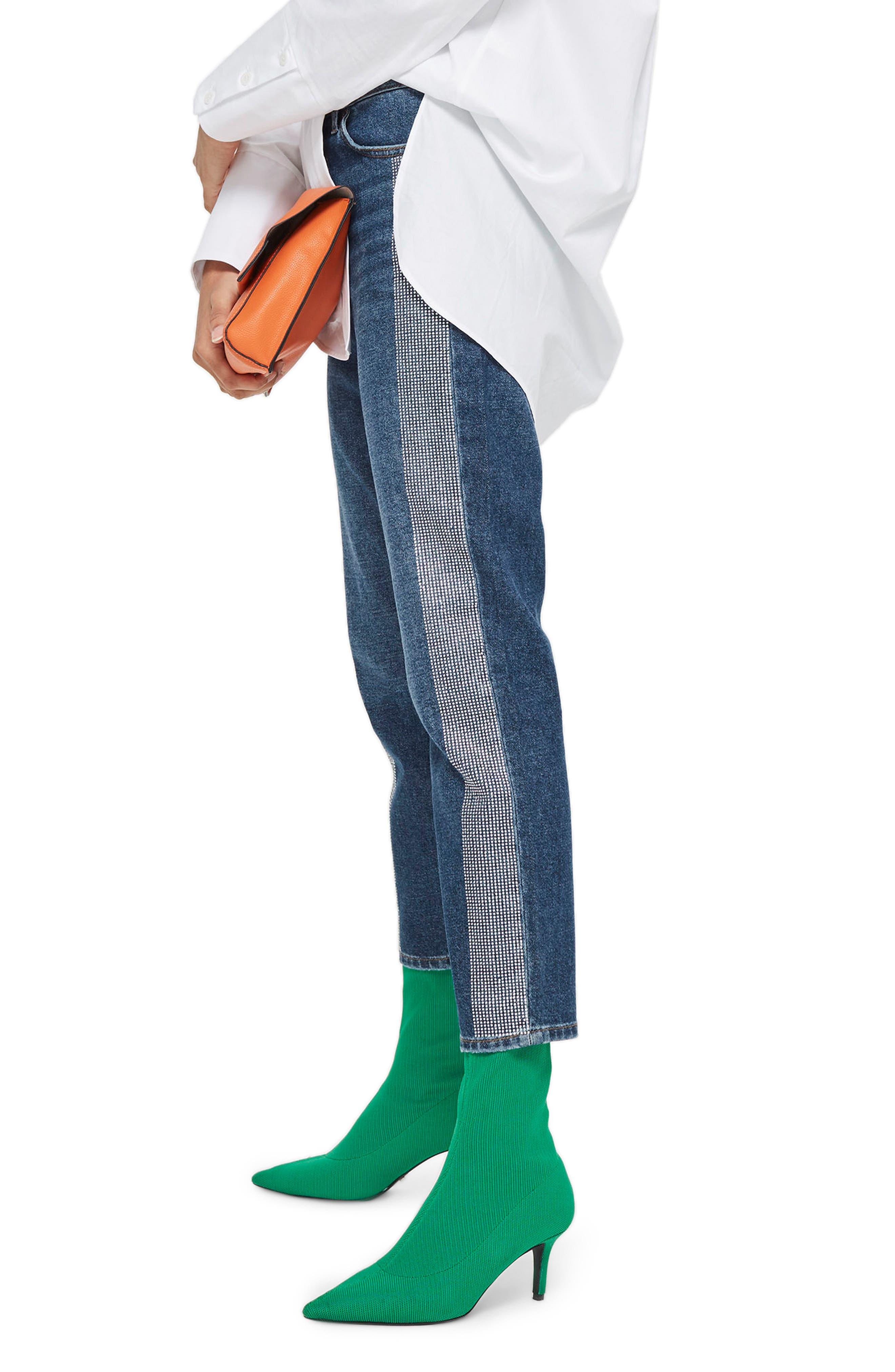 Diamante Stripe Straight Leg Jeans,                             Alternate thumbnail 3, color,                             Mid Denim