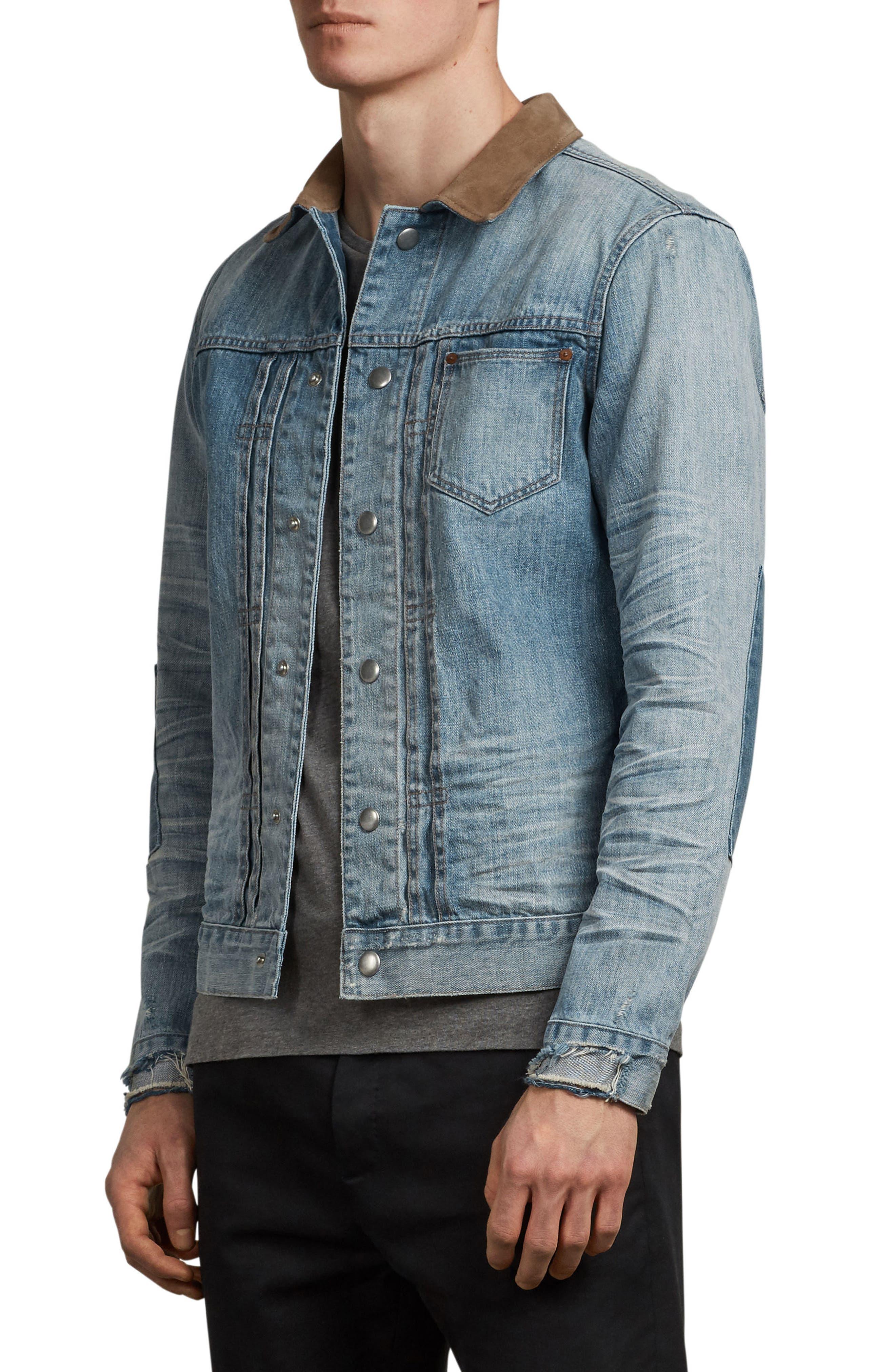 Ibanex Slim Fit Distressed Denim Jacket,                             Alternate thumbnail 3, color,                             Indigo