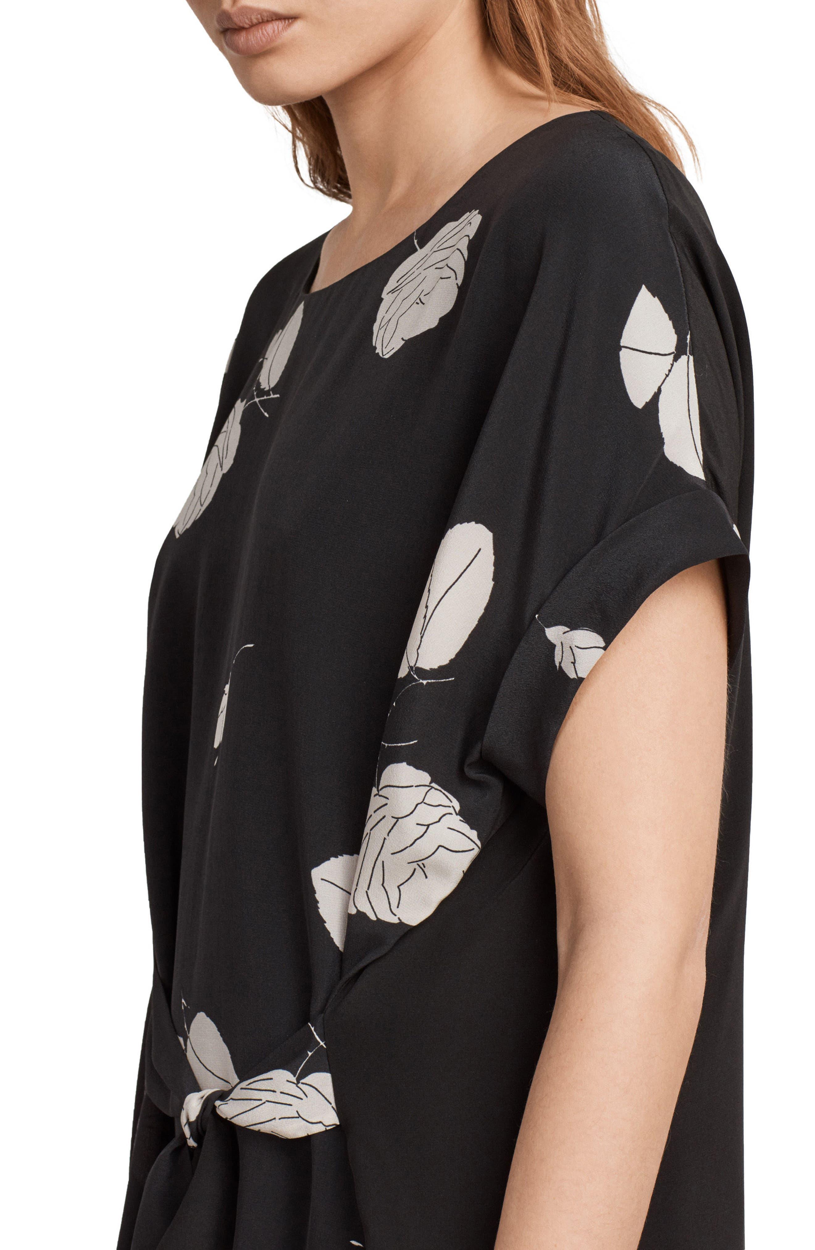 Sonny Rodin Silk Dress,                             Alternate thumbnail 4, color,                             Black