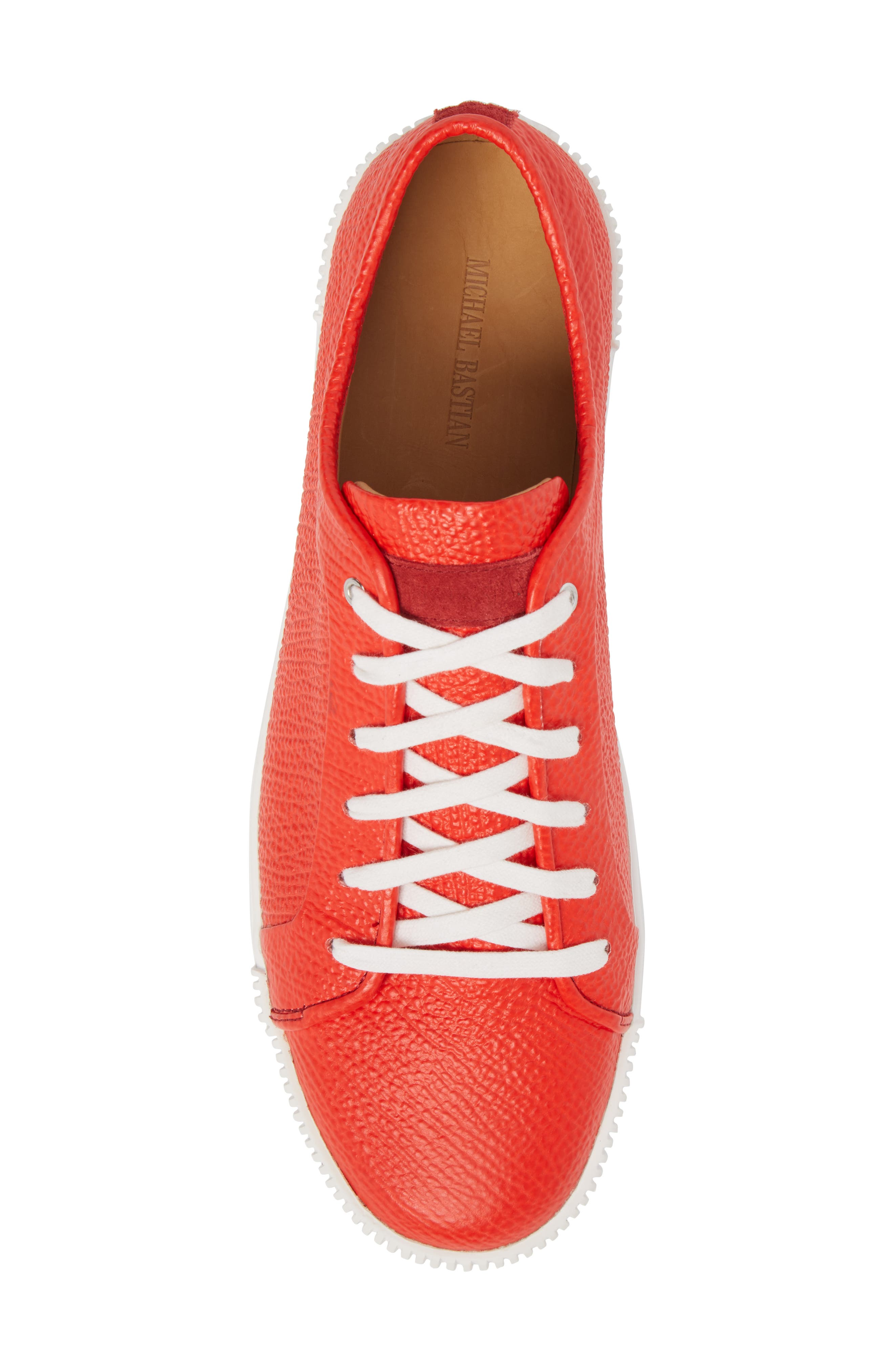 Lyons Low Top Sneaker,                             Alternate thumbnail 5, color,                             Red Leather