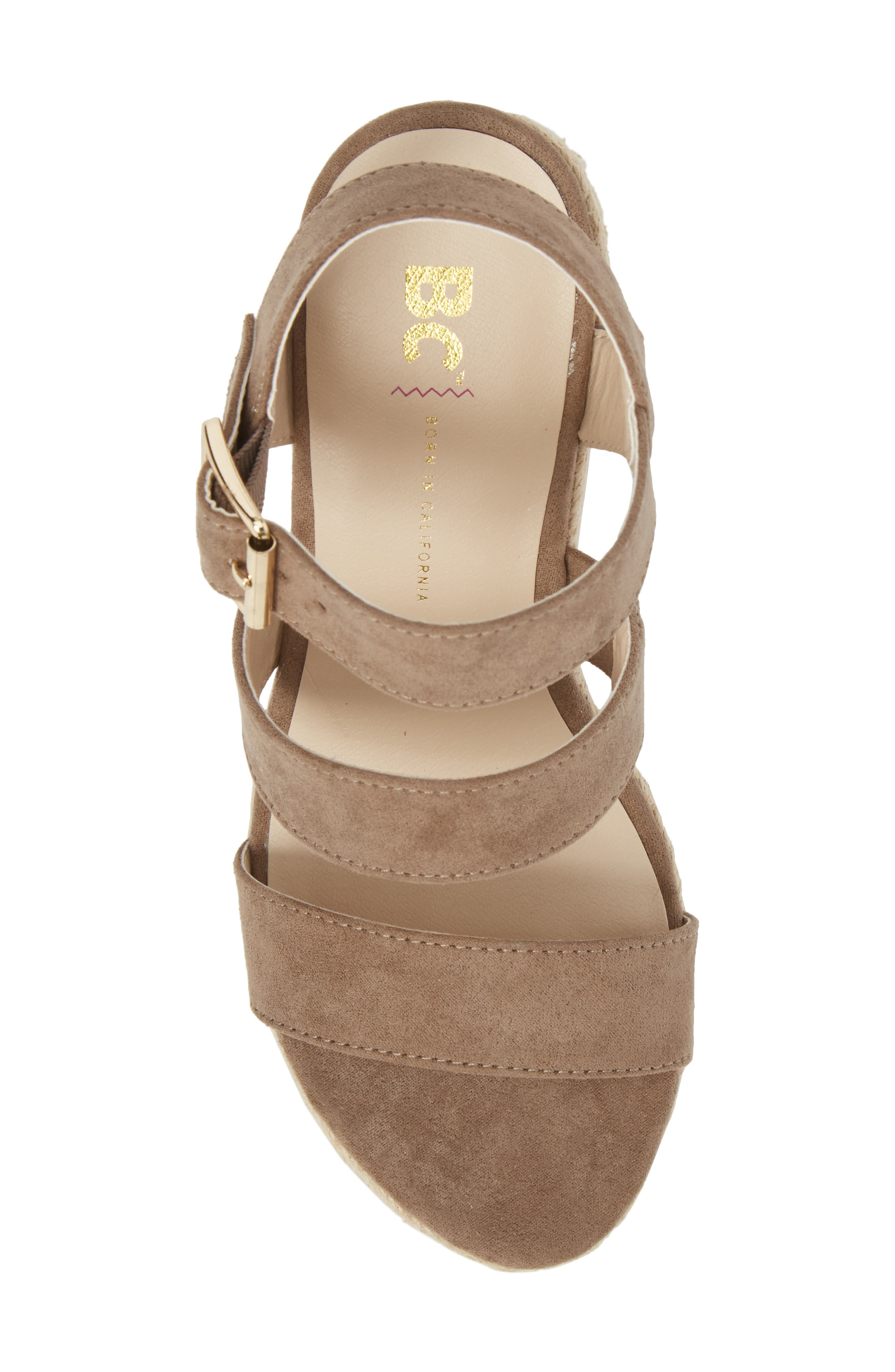 Snack Bar Espadrille Wedge Sandal,                             Alternate thumbnail 5, color,                             Taupe Suede