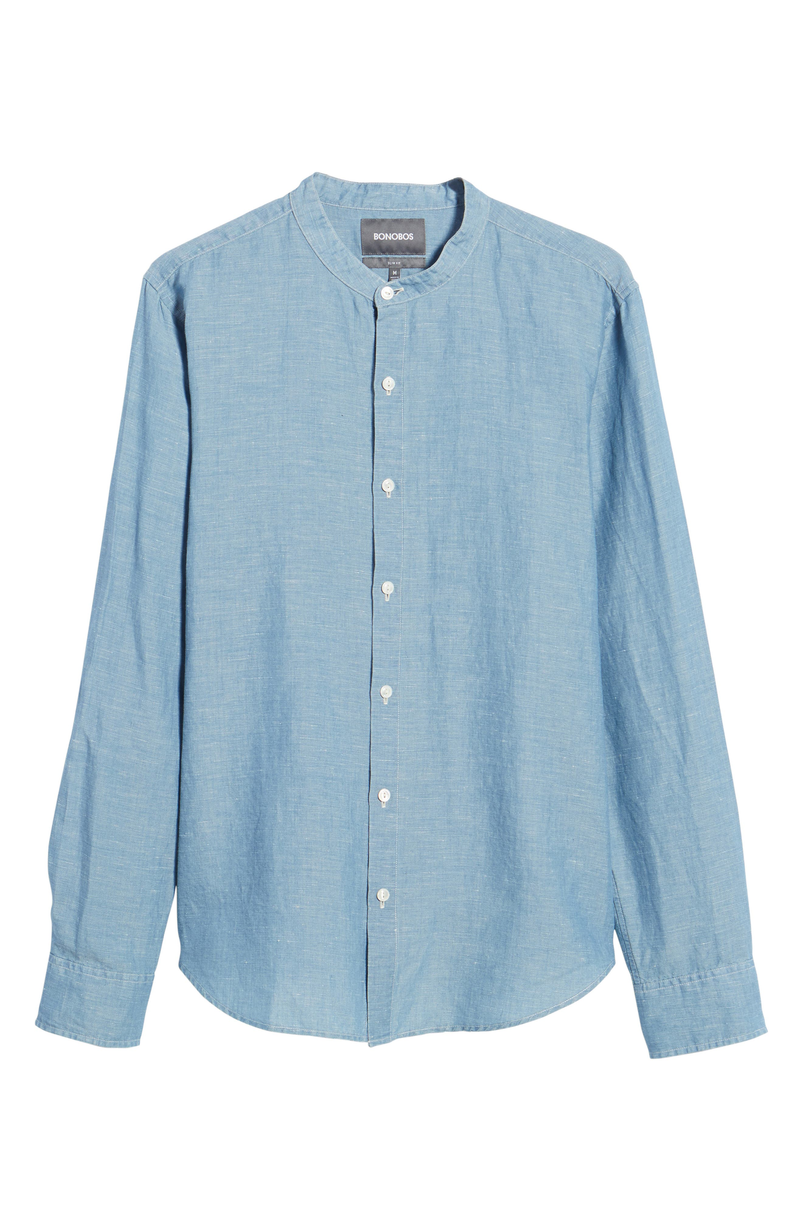 Trim Fit Chambray Sport Shirt,                             Alternate thumbnail 6, color,                             Chambray Bleach Wash