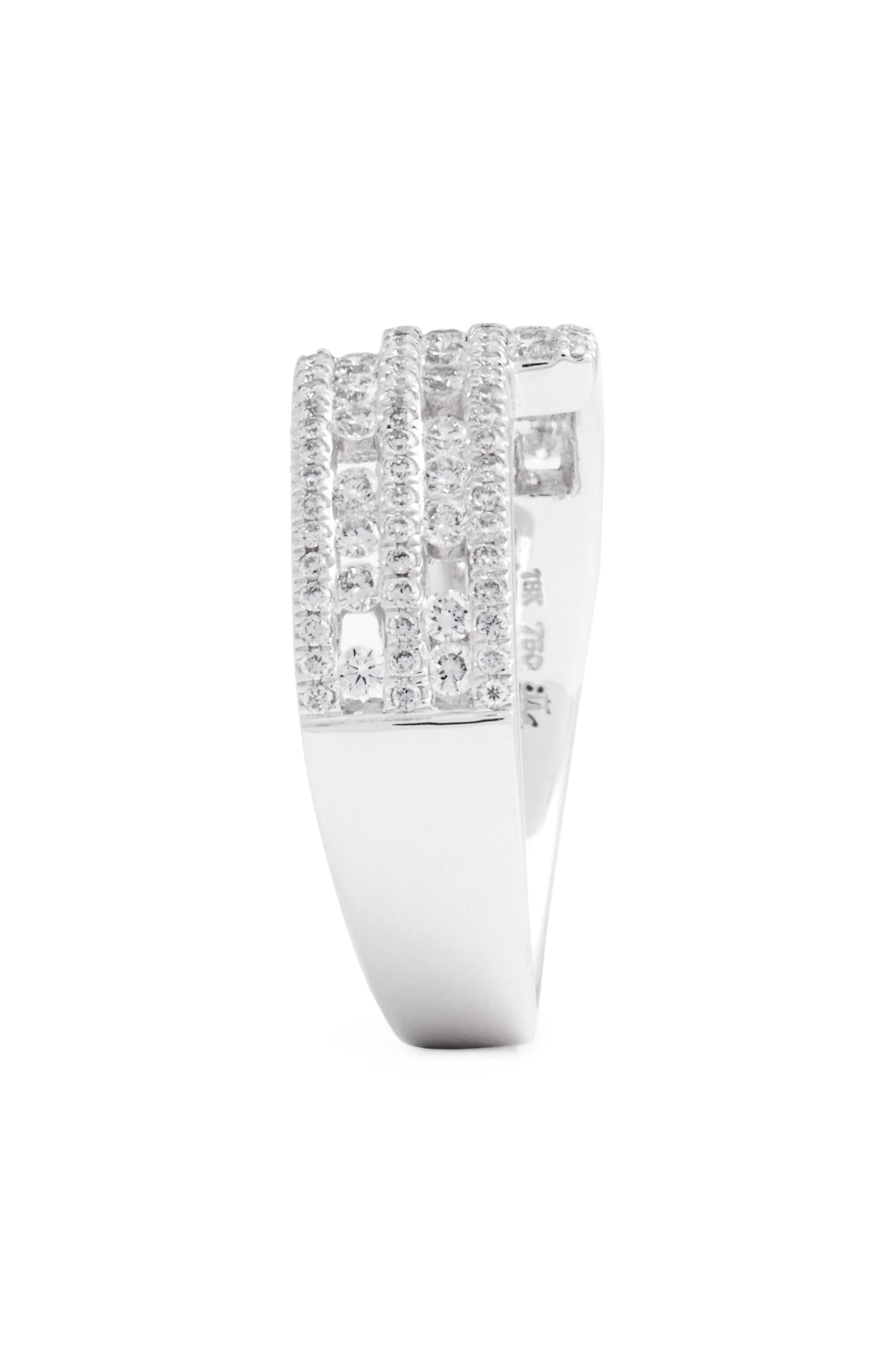 Amara Luxe Wrap Diamond Ring,                             Alternate thumbnail 2, color,                             White Gold