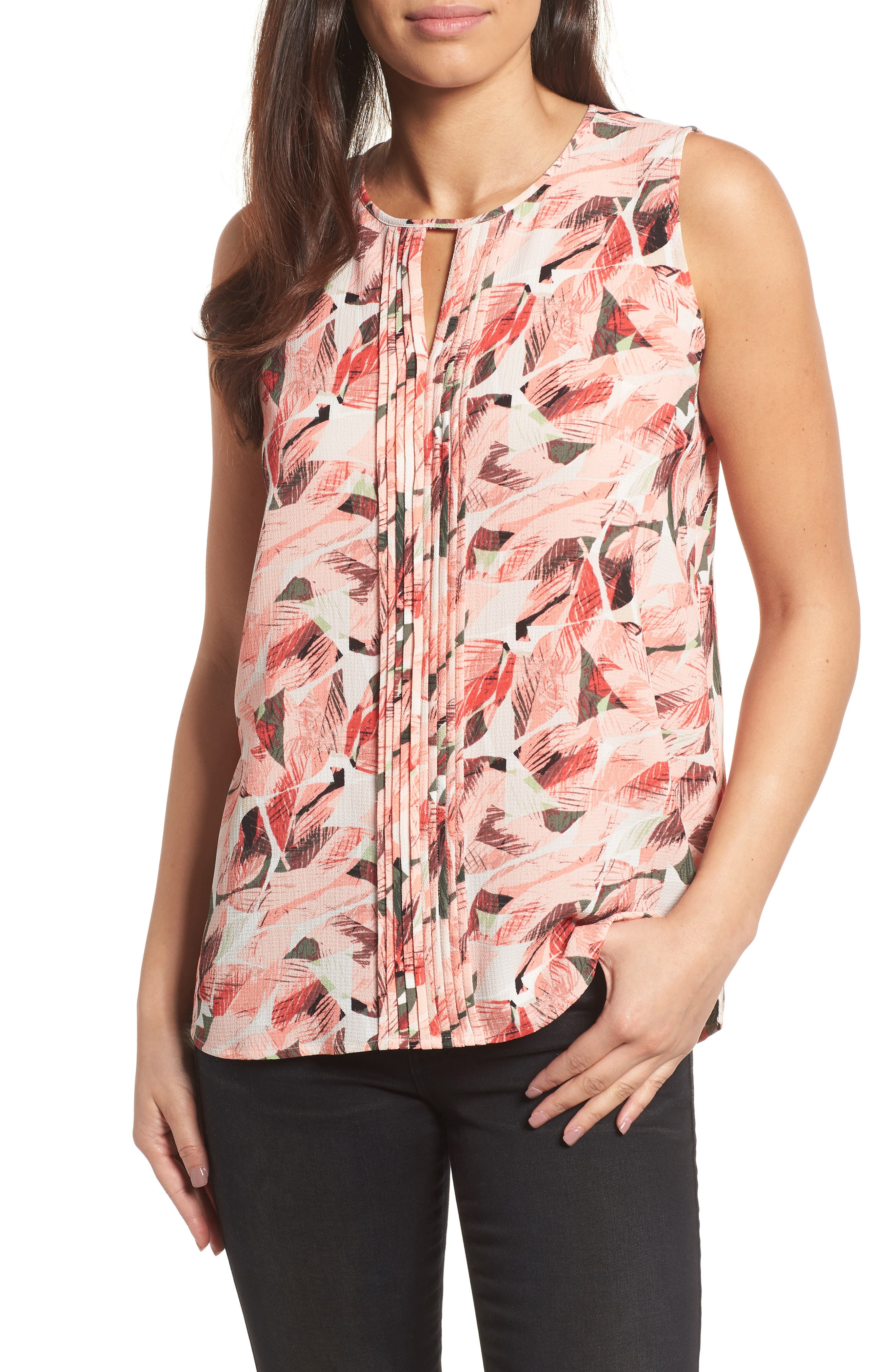 Alternate Image 1 Selected - Chaus Whimsical Tropics Pintuck Top