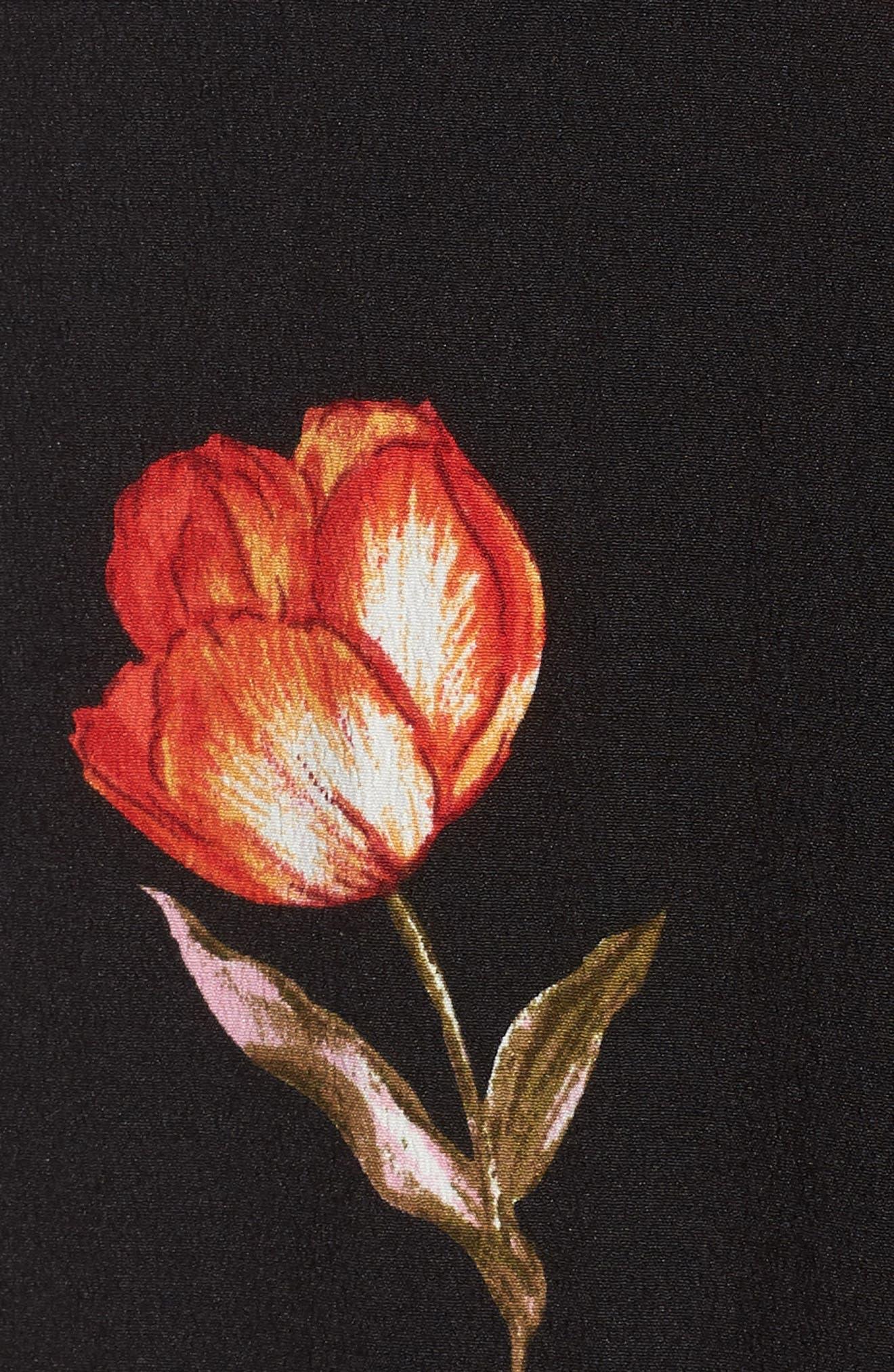 Lucy Floral Wrap Dress,                             Alternate thumbnail 5, color,                             Black Floral