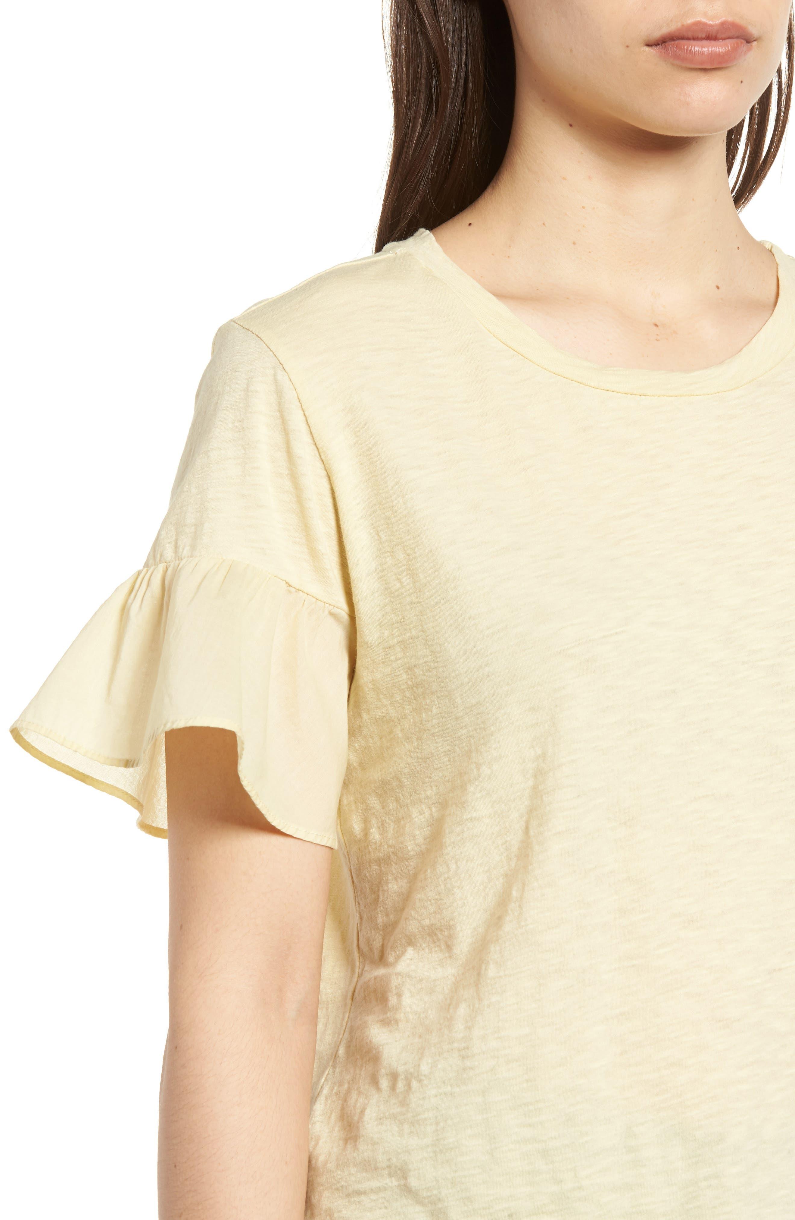 Slub Cotton Voile Sleeve Tee,                             Alternate thumbnail 4, color,                             Chick Yellow