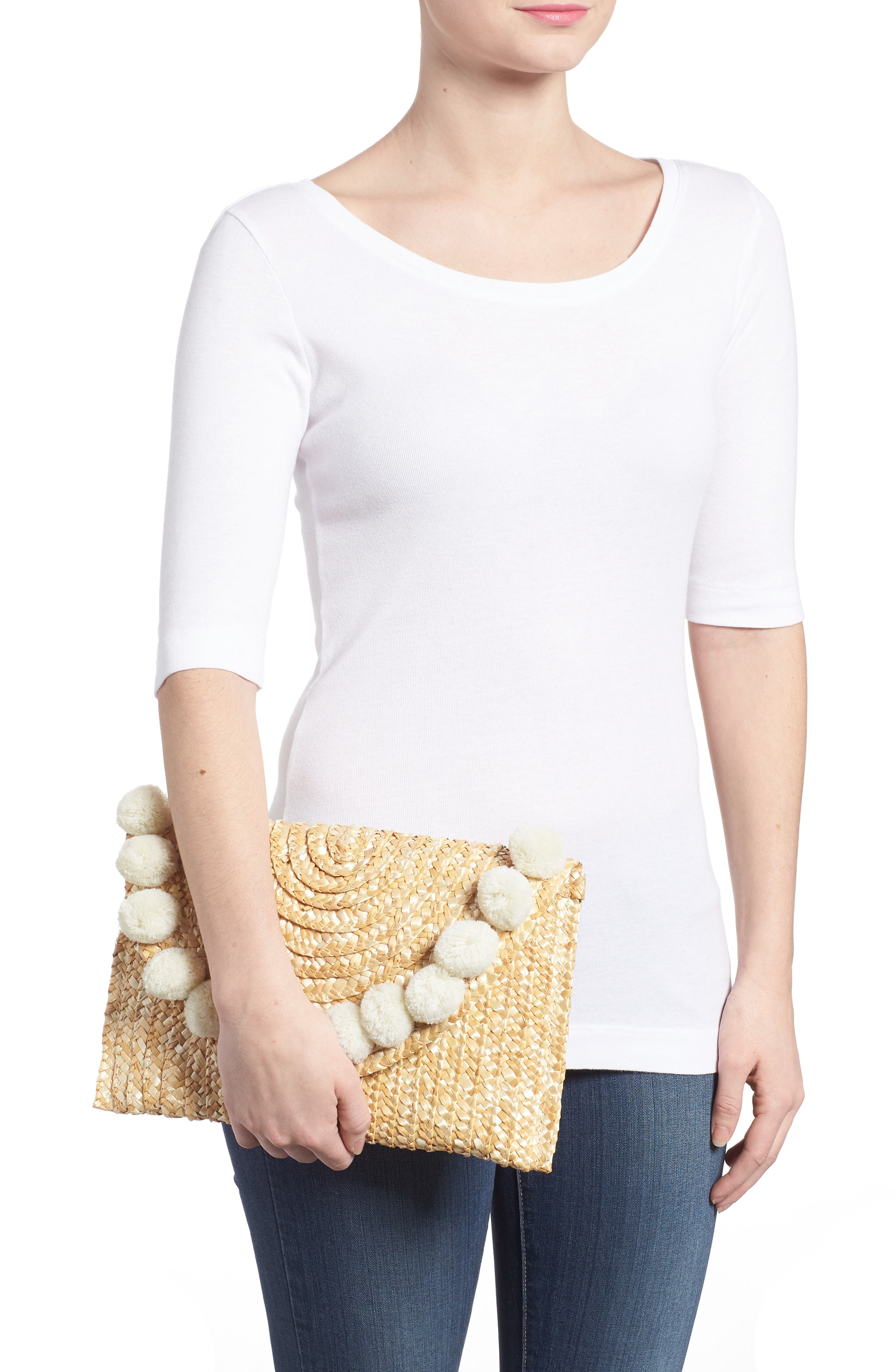 Fortuna Straw Clutch,                             Alternate thumbnail 2, color,                             Natural