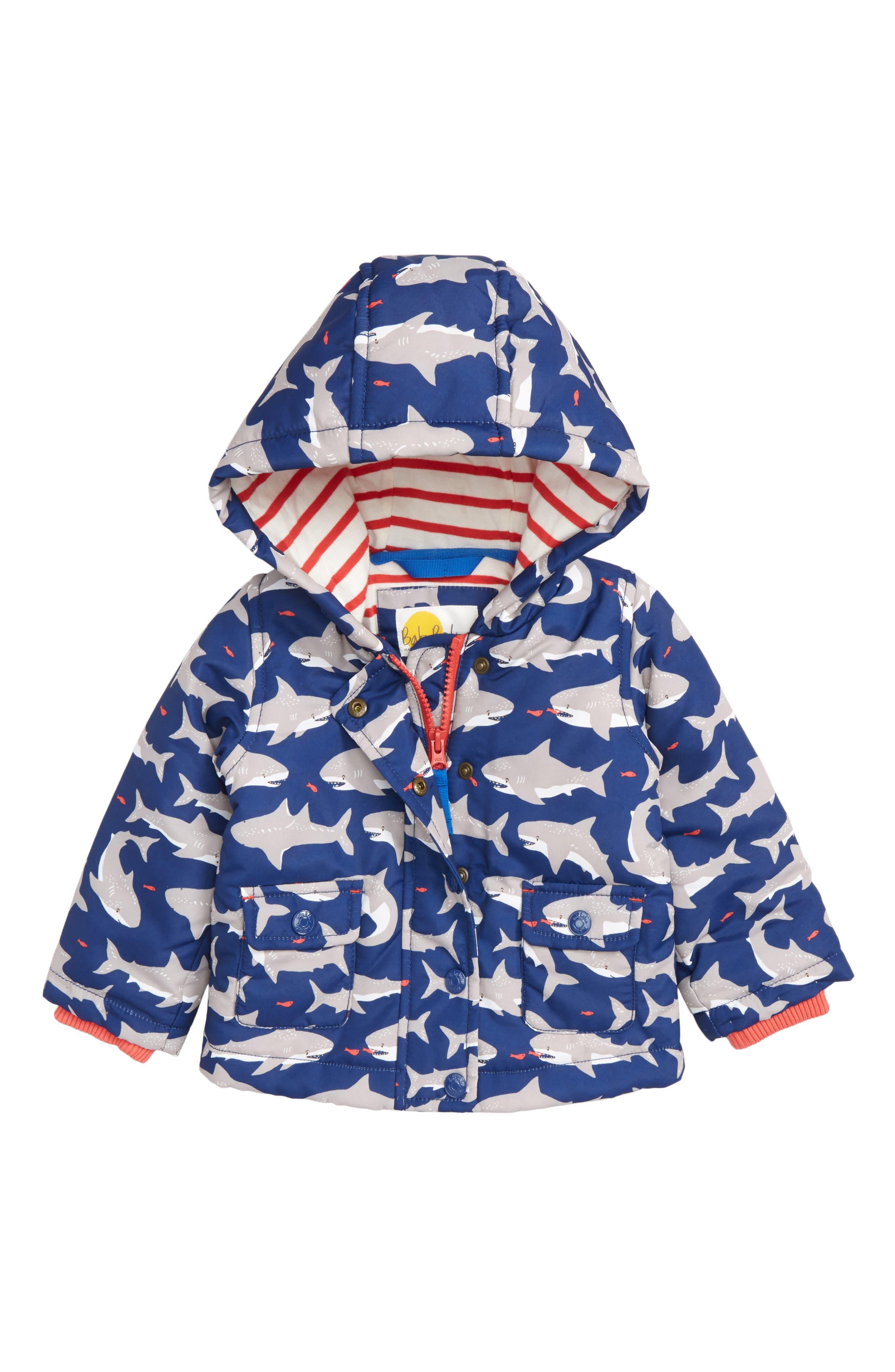 Print Hooded Jacket,                         Main,                         color, Beacon Blue