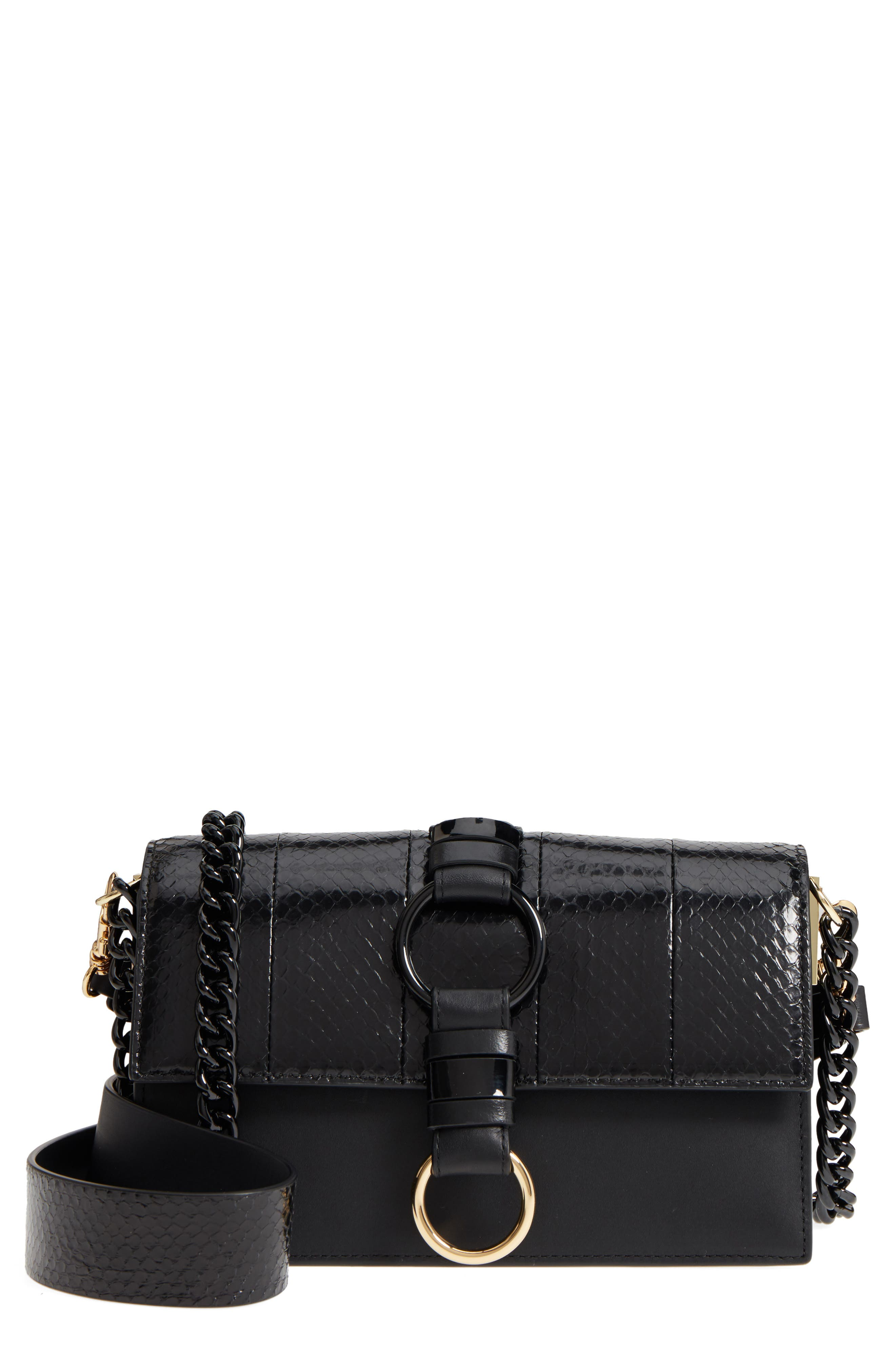Bonne Journée Leather & Genuine Snakeskin Crossbody Bag,                             Main thumbnail 1, color,                             Black