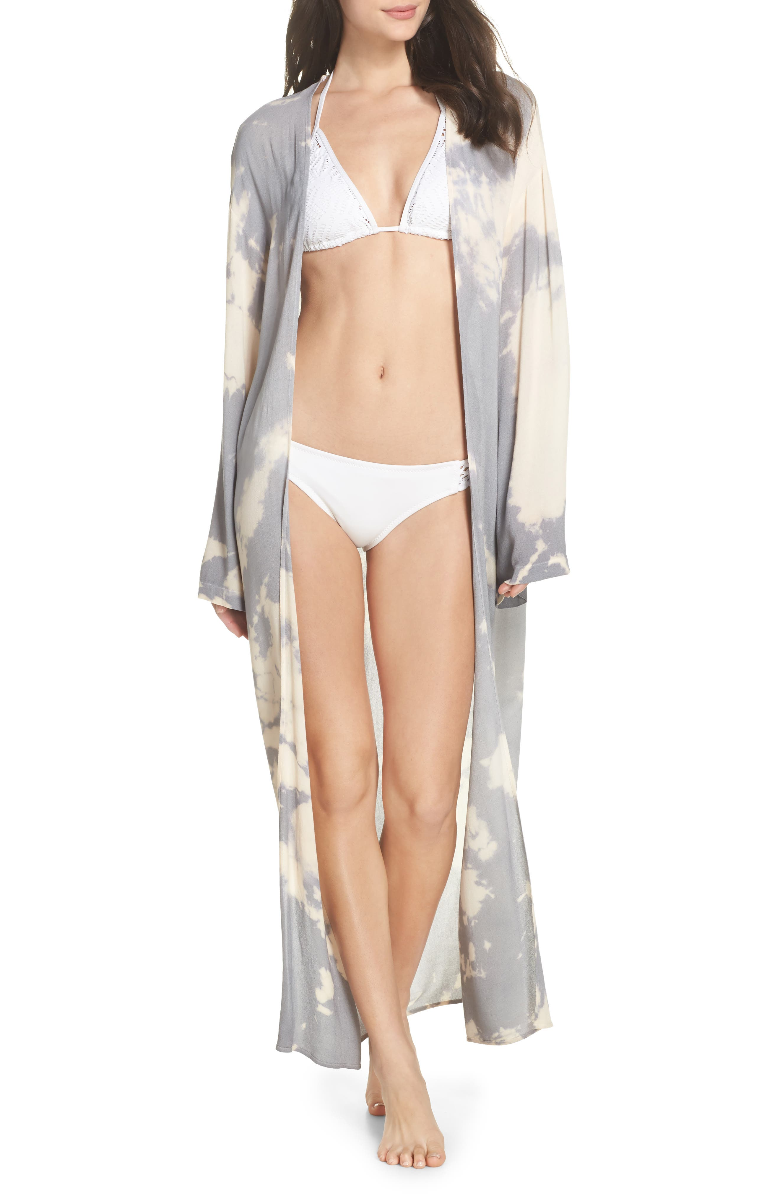 Duster Cover-Up,                         Main,                         color, Grey/ Cream