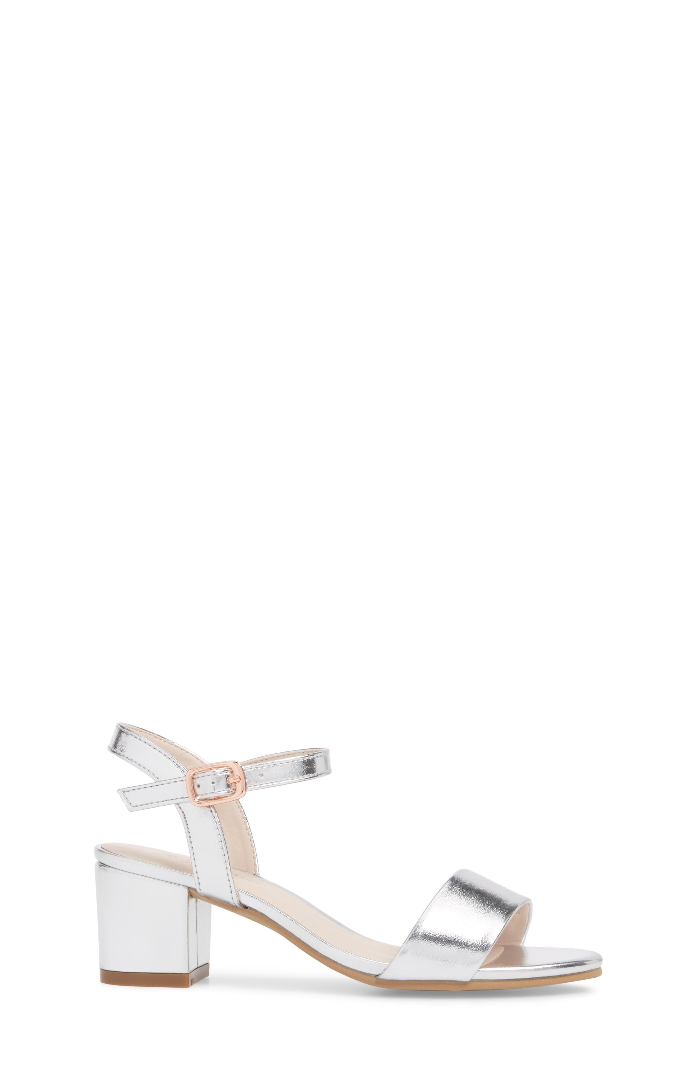 Danni Block Heel Sandal,                             Alternate thumbnail 3, color,                             Silver Faux Leather