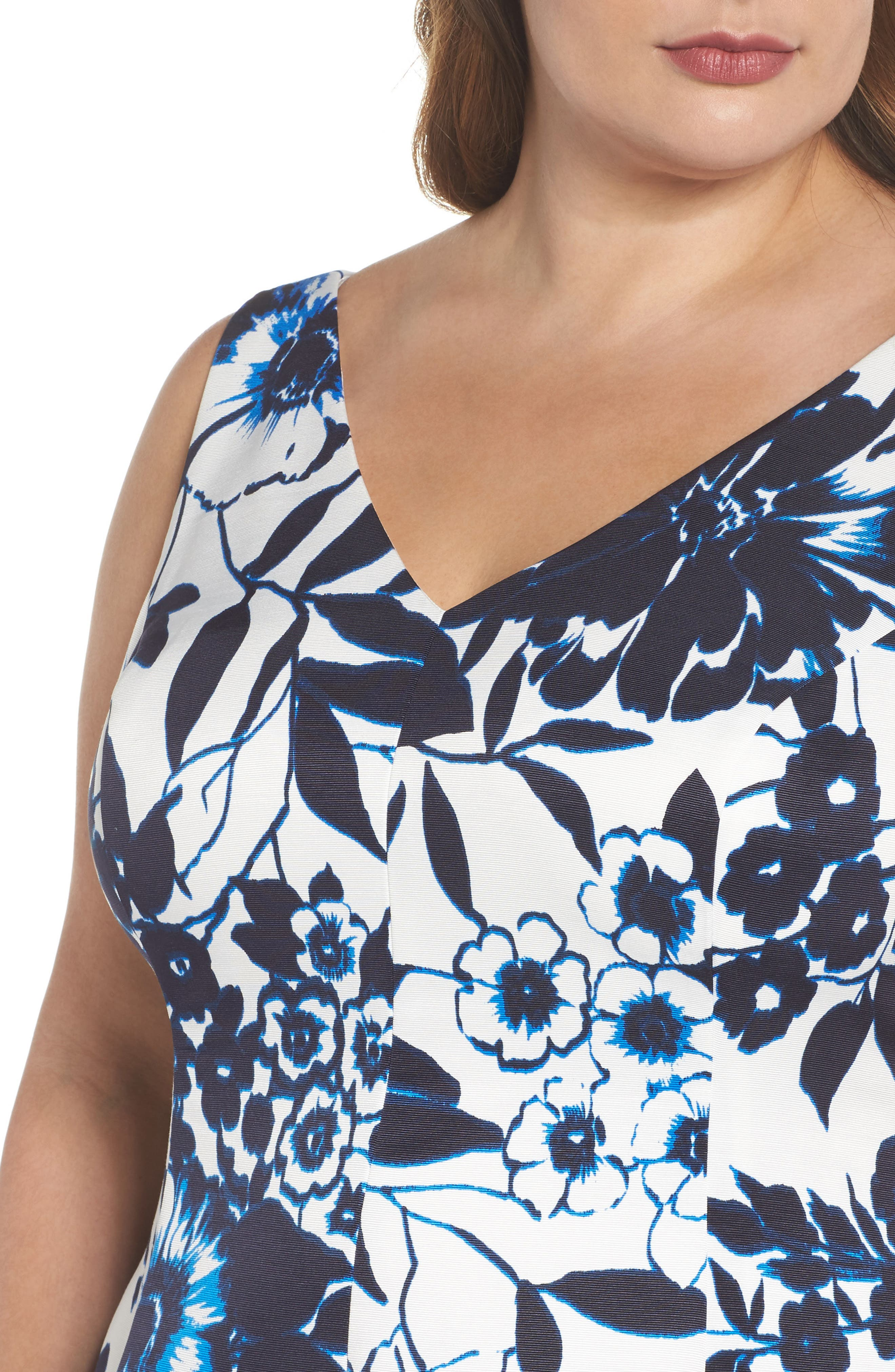 Asymmetric Hem Fit & Flare Dress,                             Alternate thumbnail 4, color,                             Navy/ Ivory