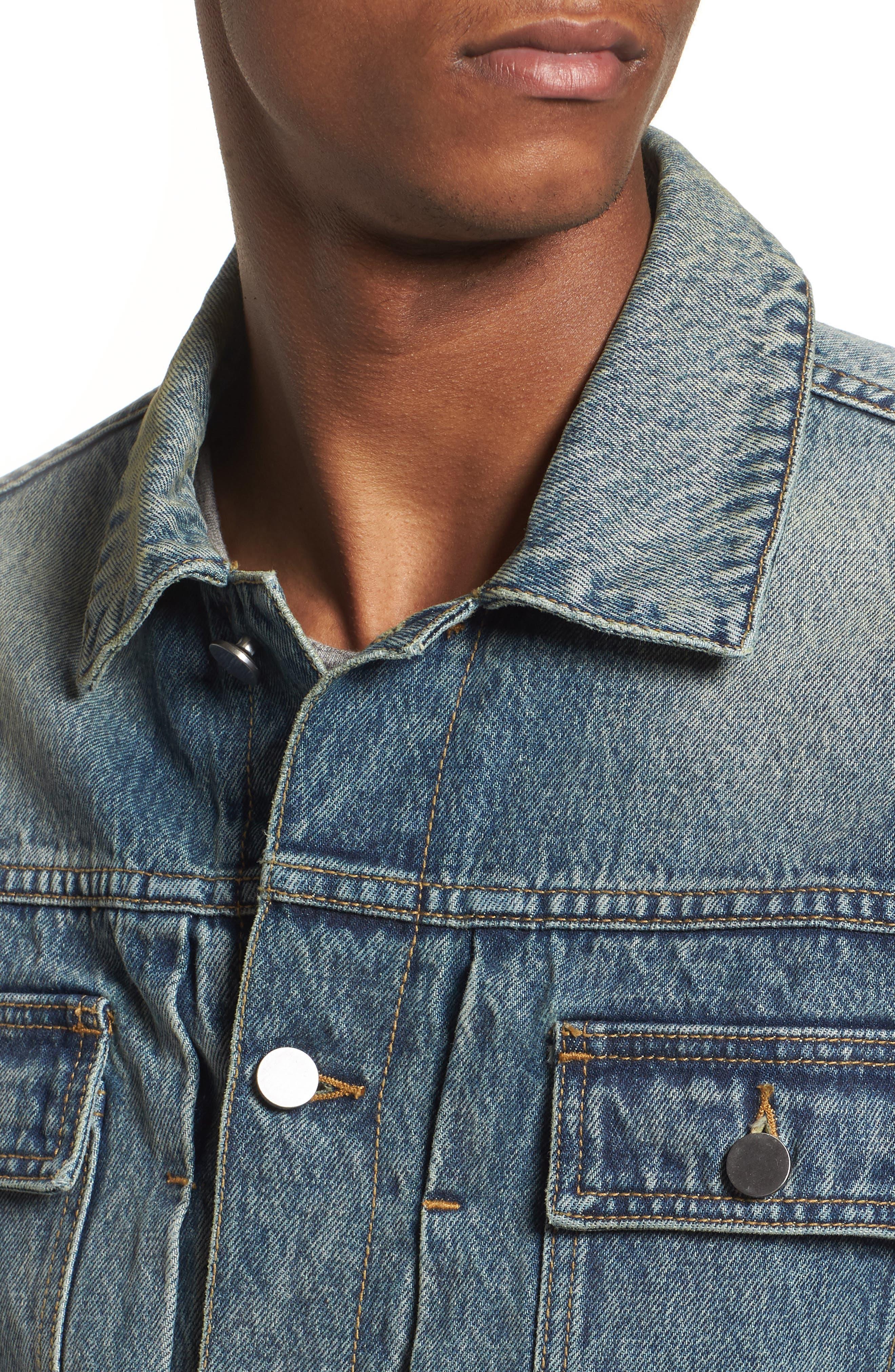 Denim Trucker Jacket,                             Alternate thumbnail 4, color,                             Blue Vintage Wash