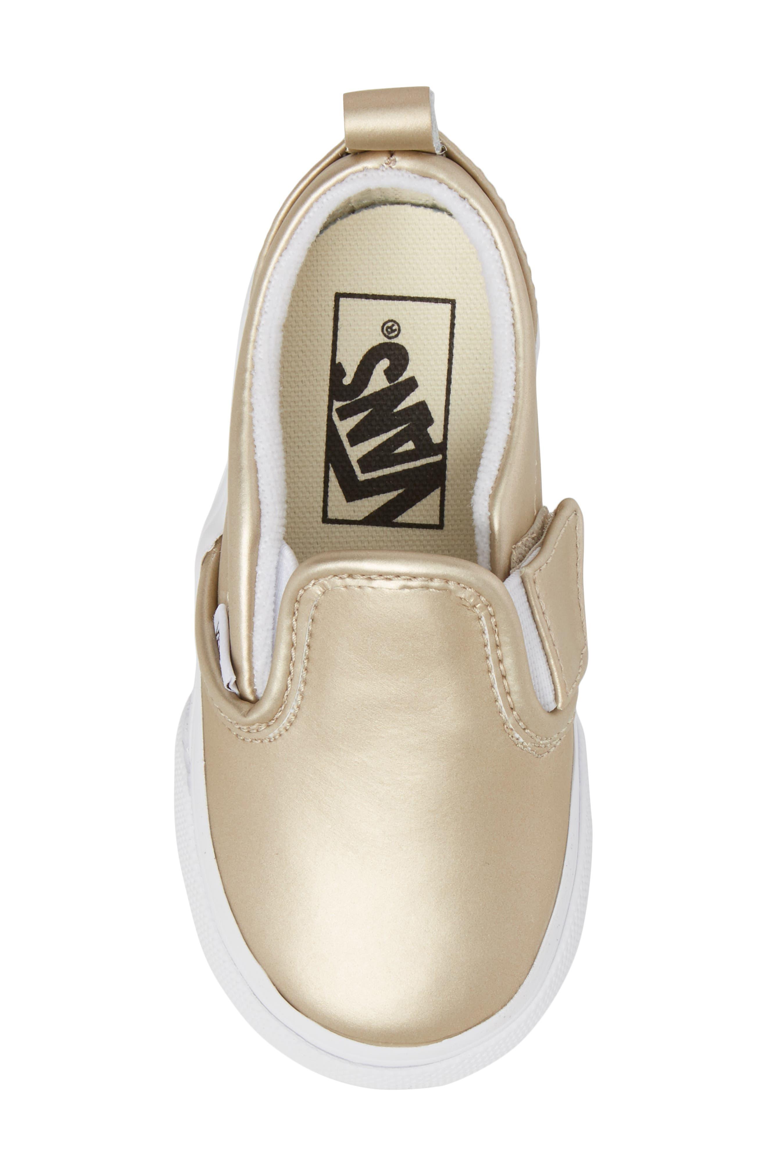 Classic Slip-On V Sneaker,                             Alternate thumbnail 5, color,                             Muted Metallic Gold/ White