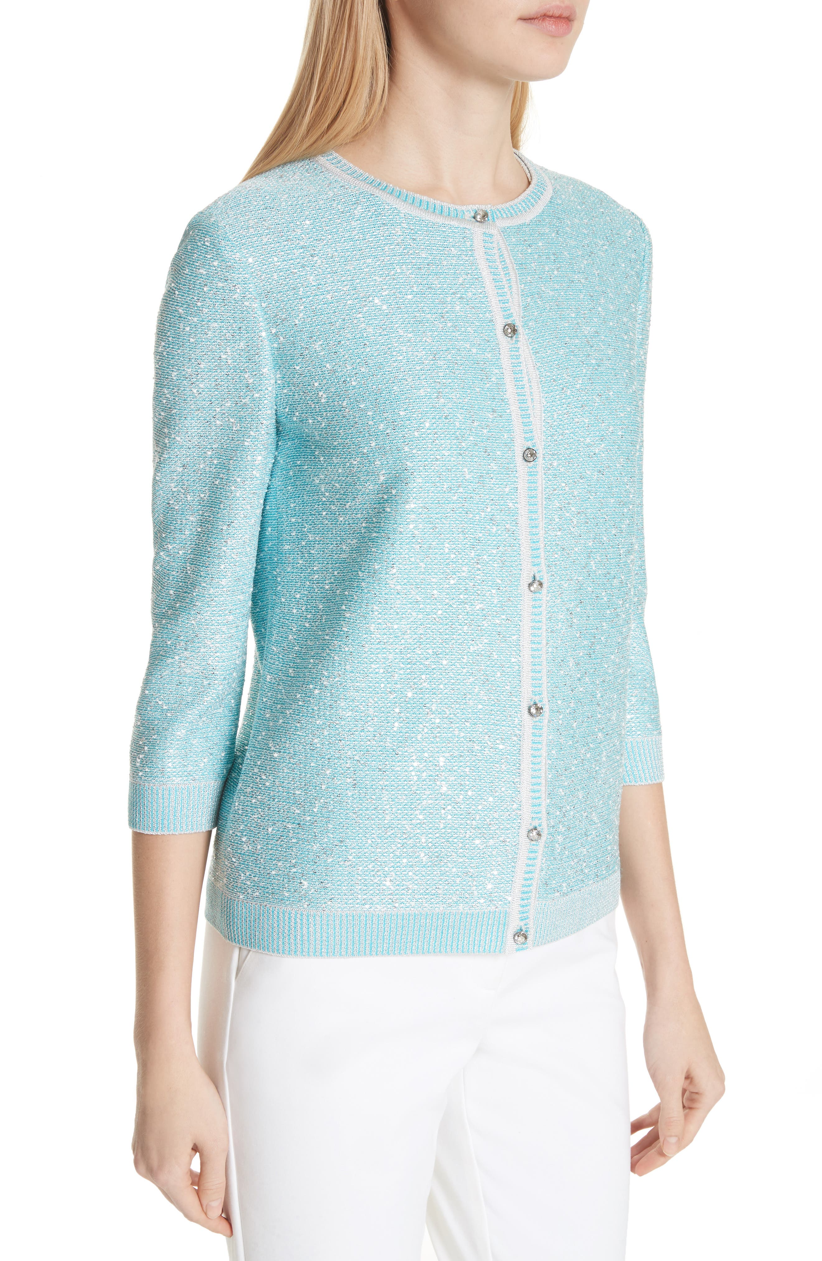 Flecked Sparkle Knit Cardigan,                             Alternate thumbnail 4, color,                             Aqua Multi