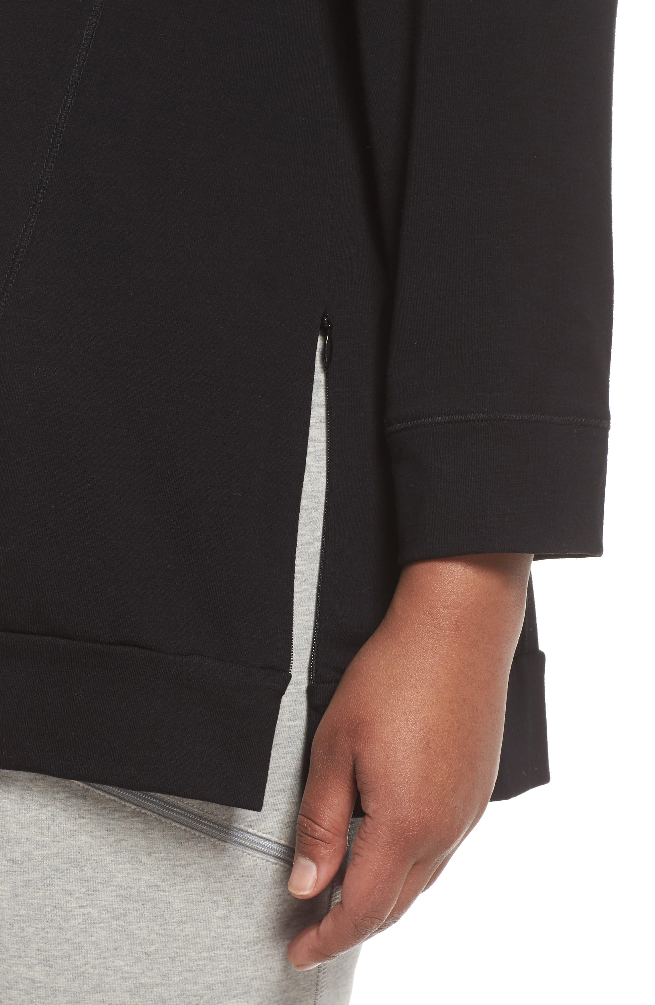 Organic Jersey Side Zip Top,                             Alternate thumbnail 4, color,                             Black
