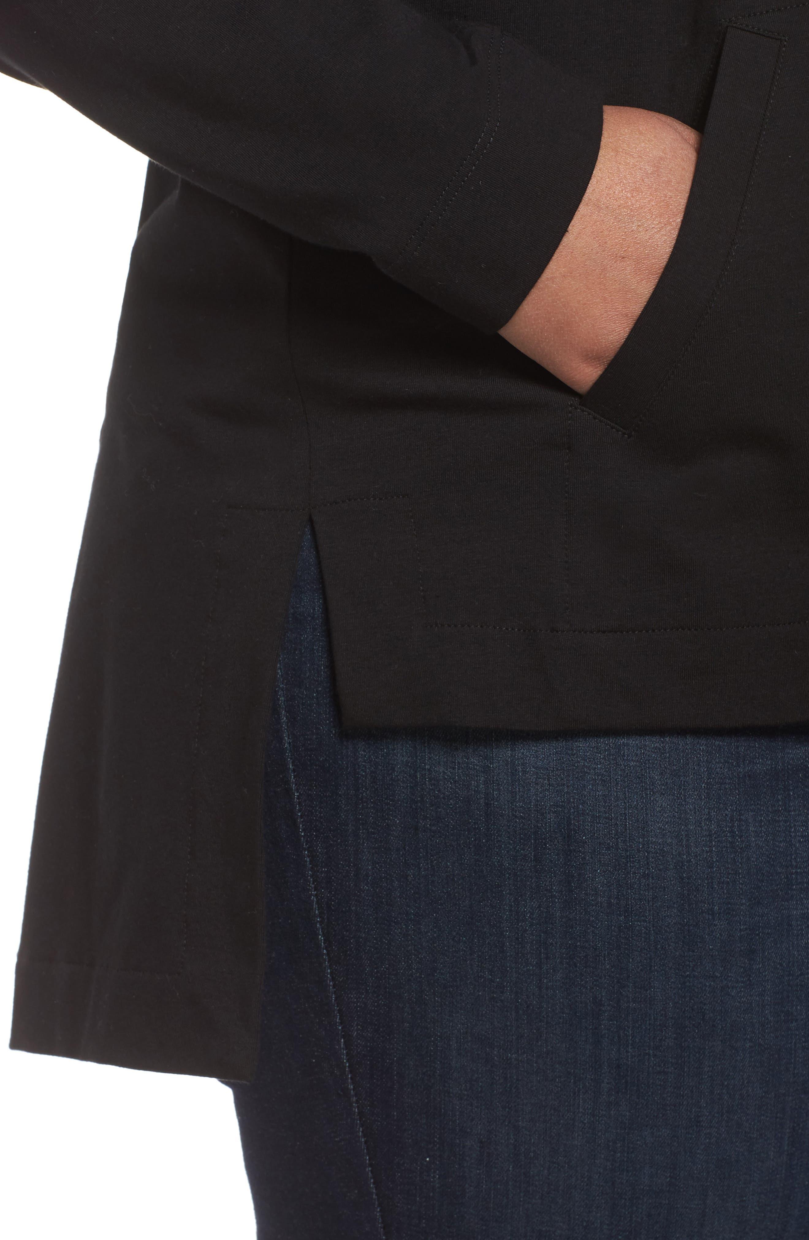 Stretch Organic Cotton Hooded Cardigan,                             Alternate thumbnail 4, color,                             Black