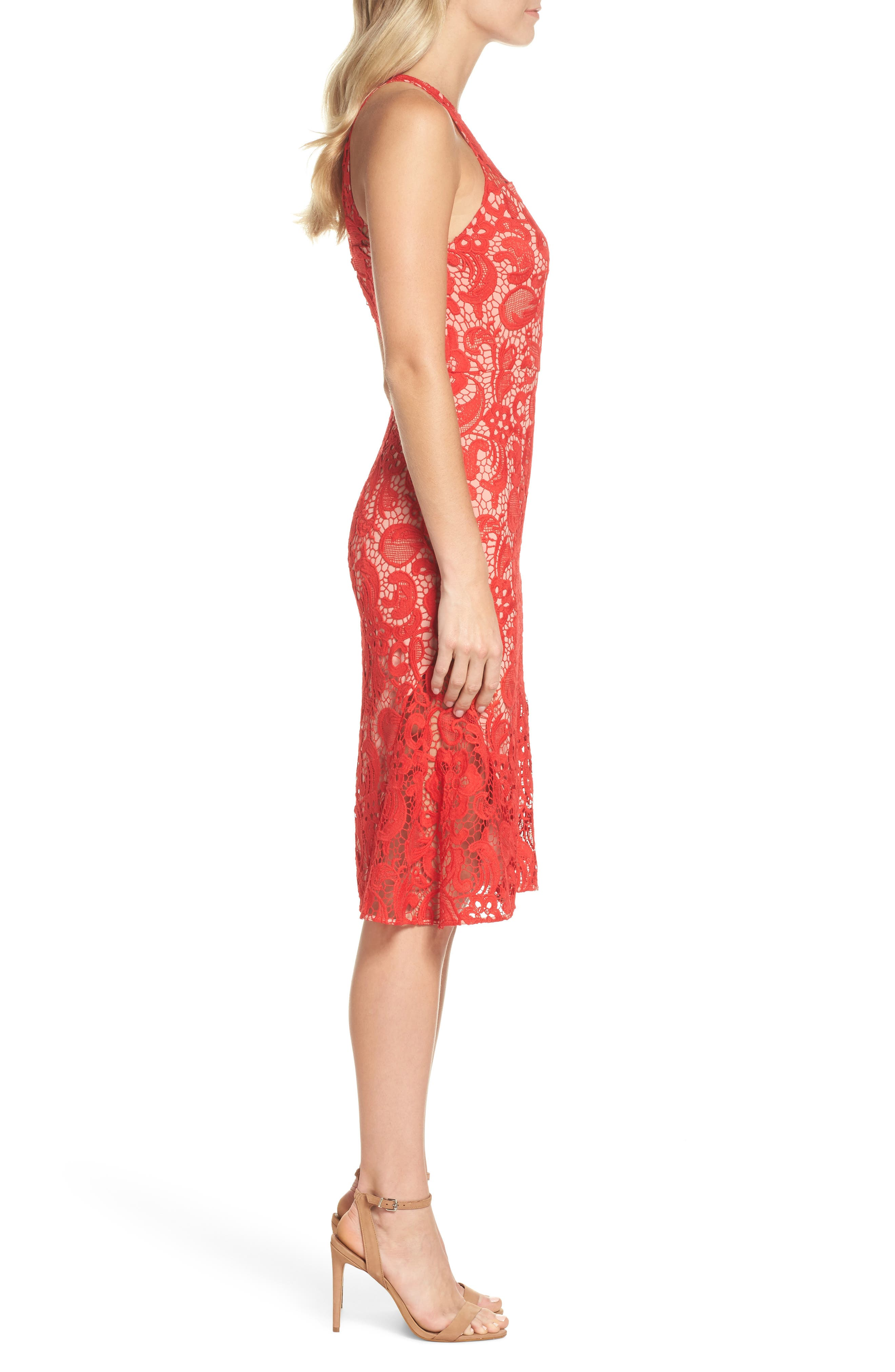 Carnation Lace Dress,                             Alternate thumbnail 3, color,                             Red Fiery