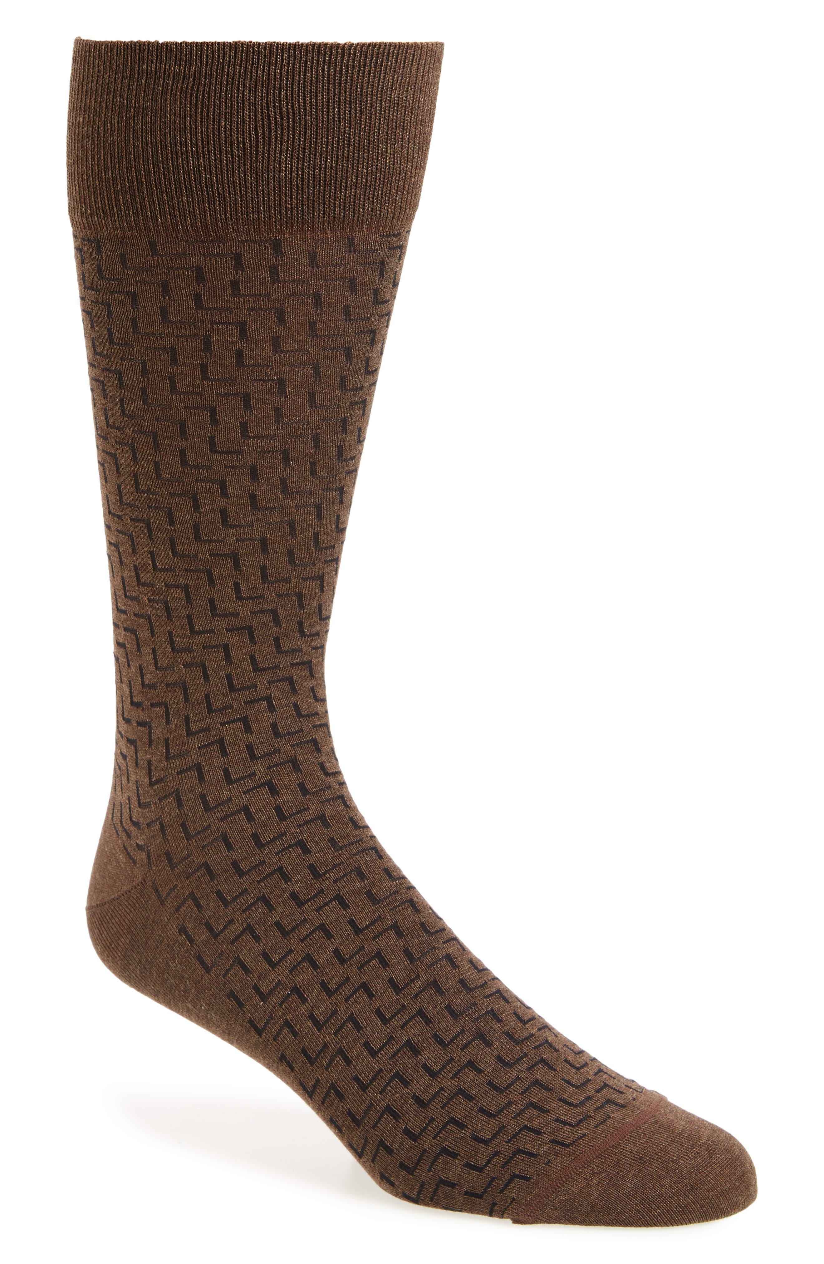 Interlock Corner Socks,                         Main,                         color, Brown Heather