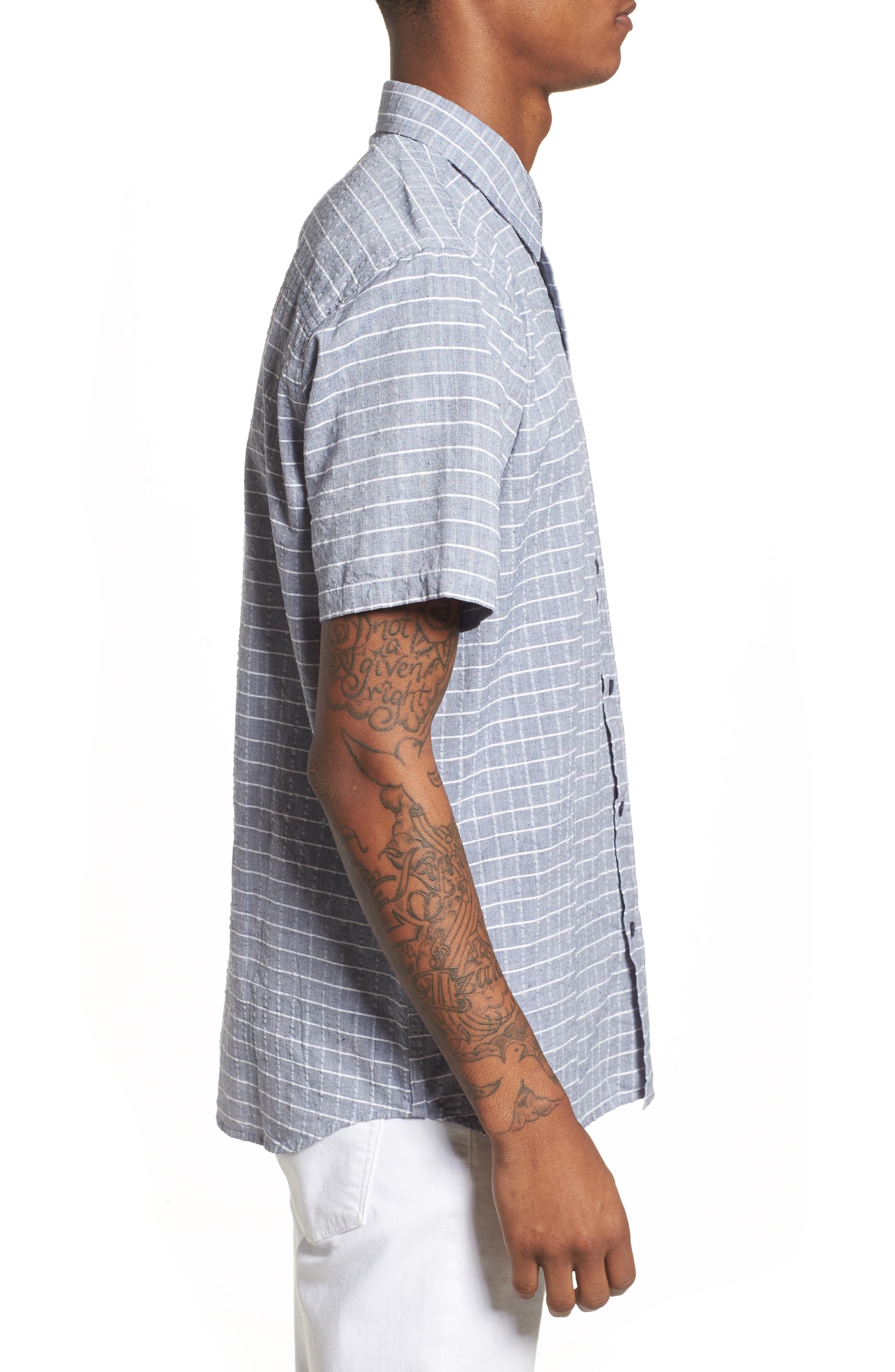 Wesley Woven Shirt,                             Alternate thumbnail 4, color,                             True Blue Stripe