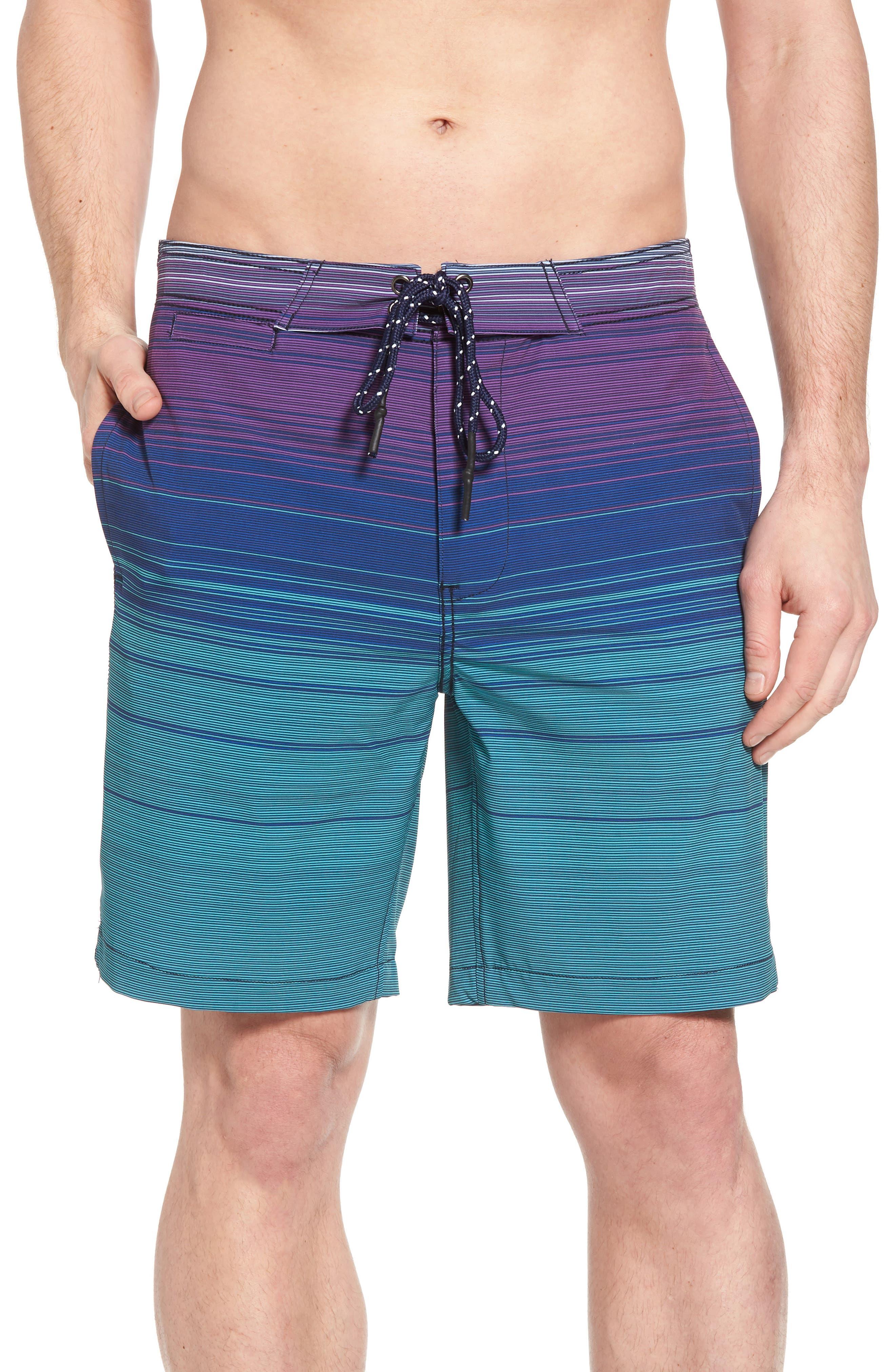 Ombré Stretch Stripe Board Shorts,                         Main,                         color, Silver Pine