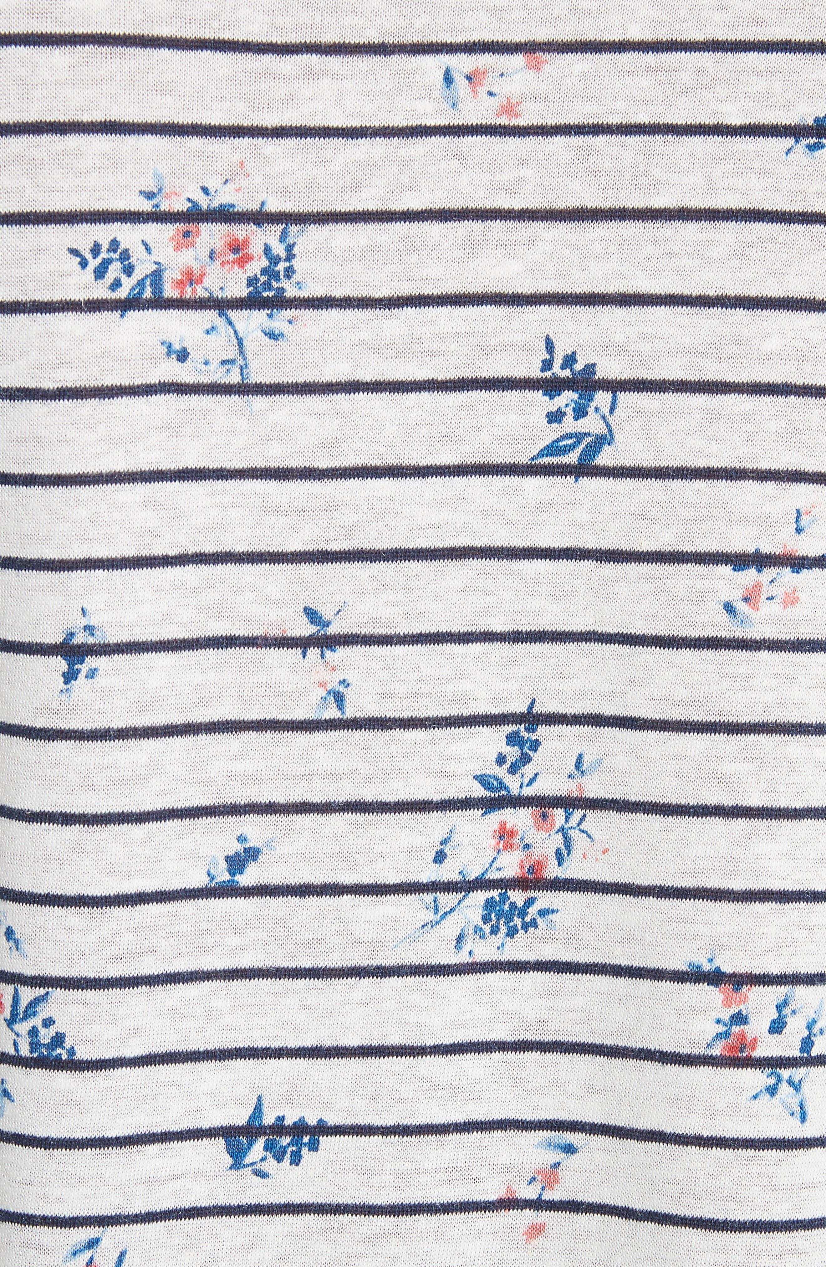 Riker Floral Stripe Linen Blend Top,                             Alternate thumbnail 5, color,                             Porcelain-Dark Navy