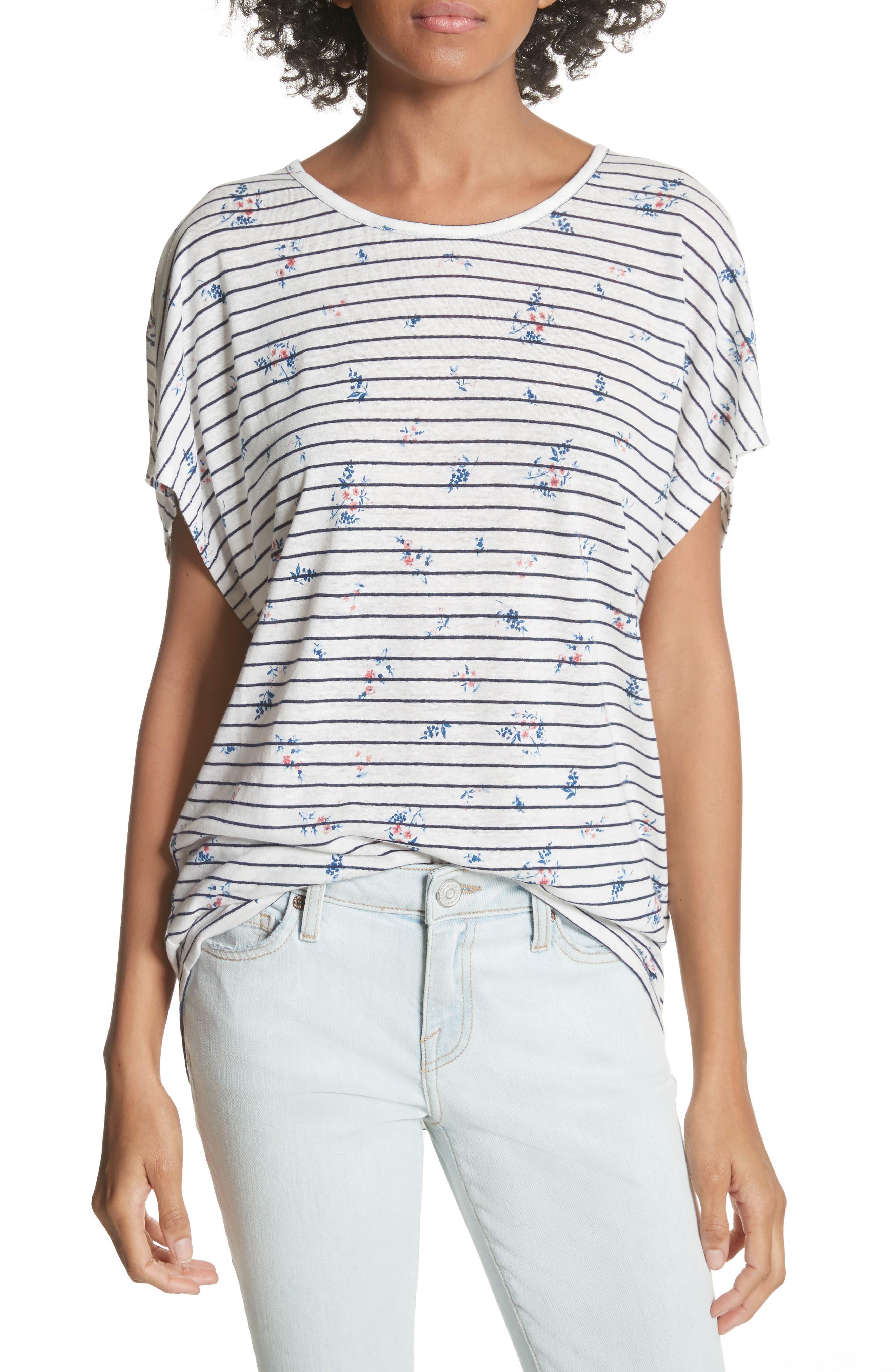 Riker Floral Stripe Linen Blend Top,                         Main,                         color, Porcelain-Dark Navy