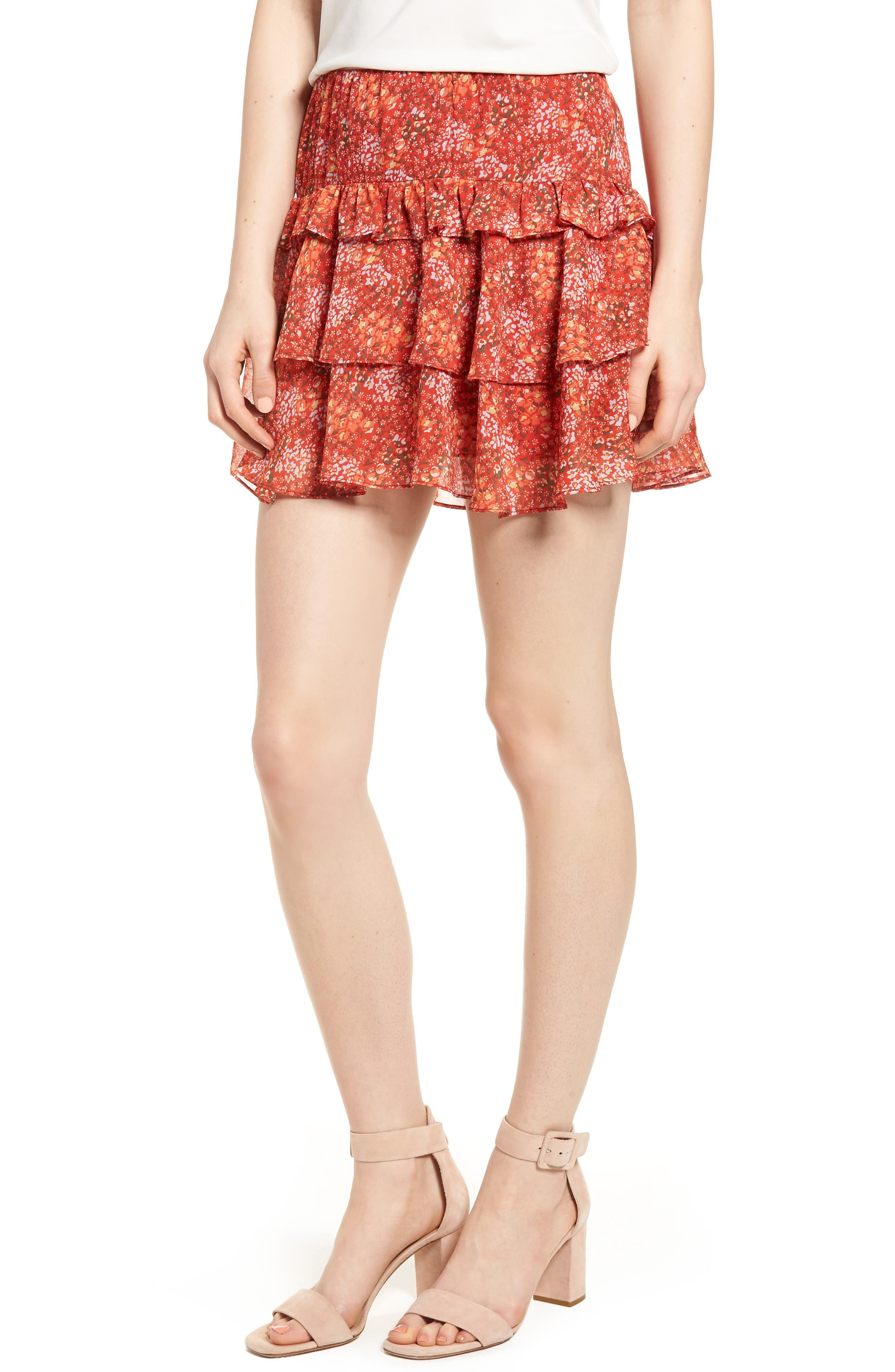 Phoebe Ruffle Tier Skirt,                             Main thumbnail 1, color,                             Red Multi