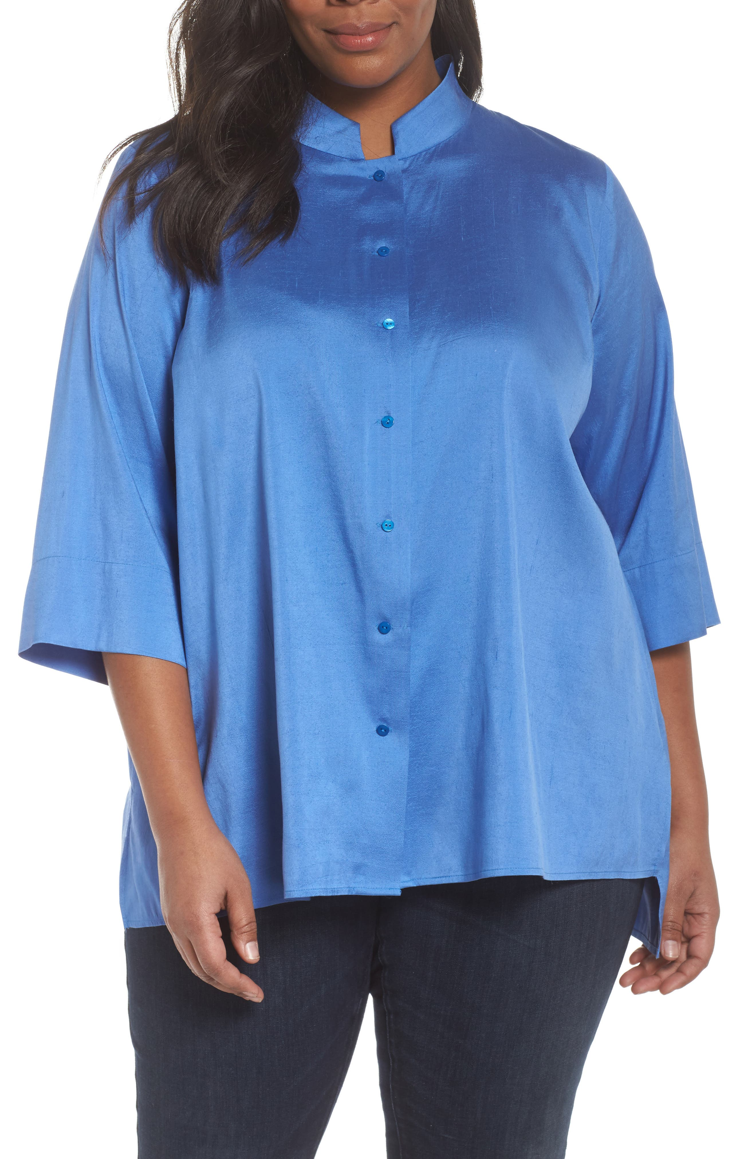 Notch Collar Shirt,                         Main,                         color, Blue Bell