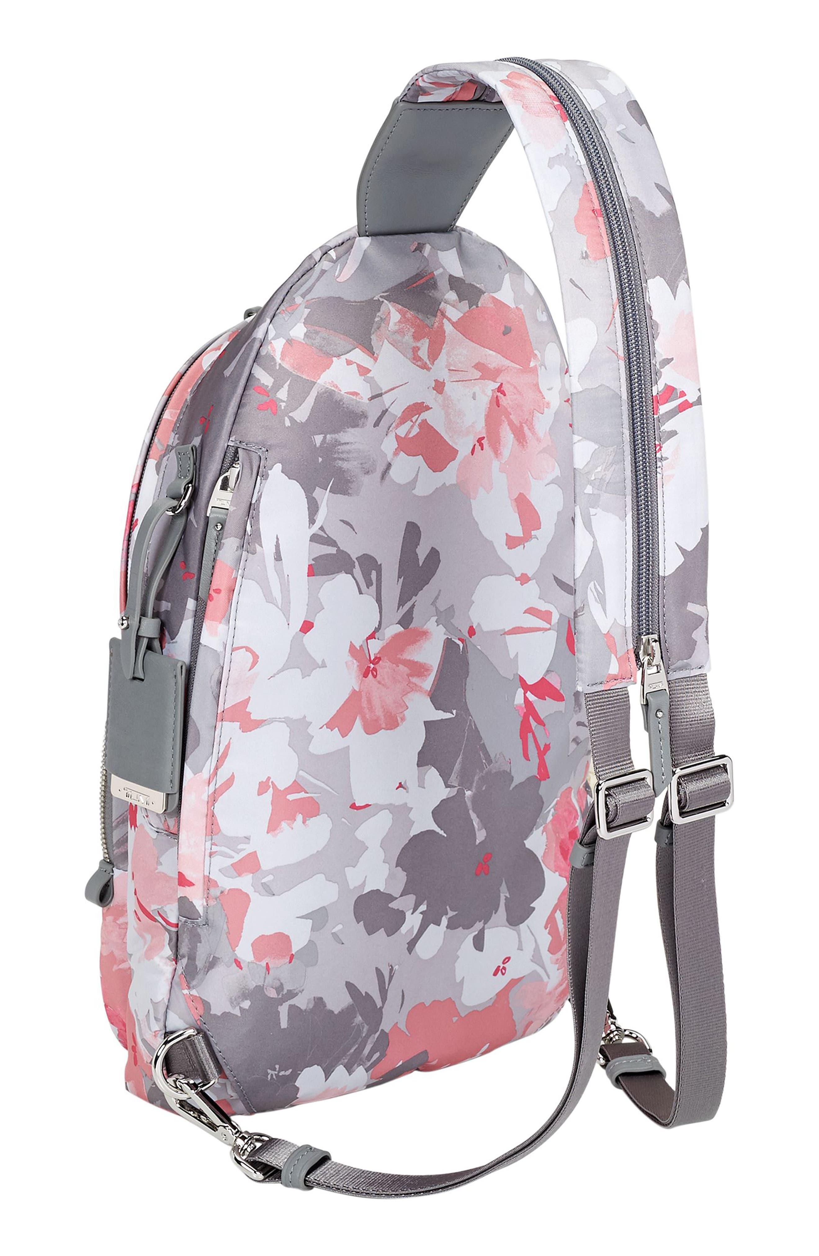 Nadia Convertible Backpack,                             Alternate thumbnail 5, color,                             Grey Floral Print