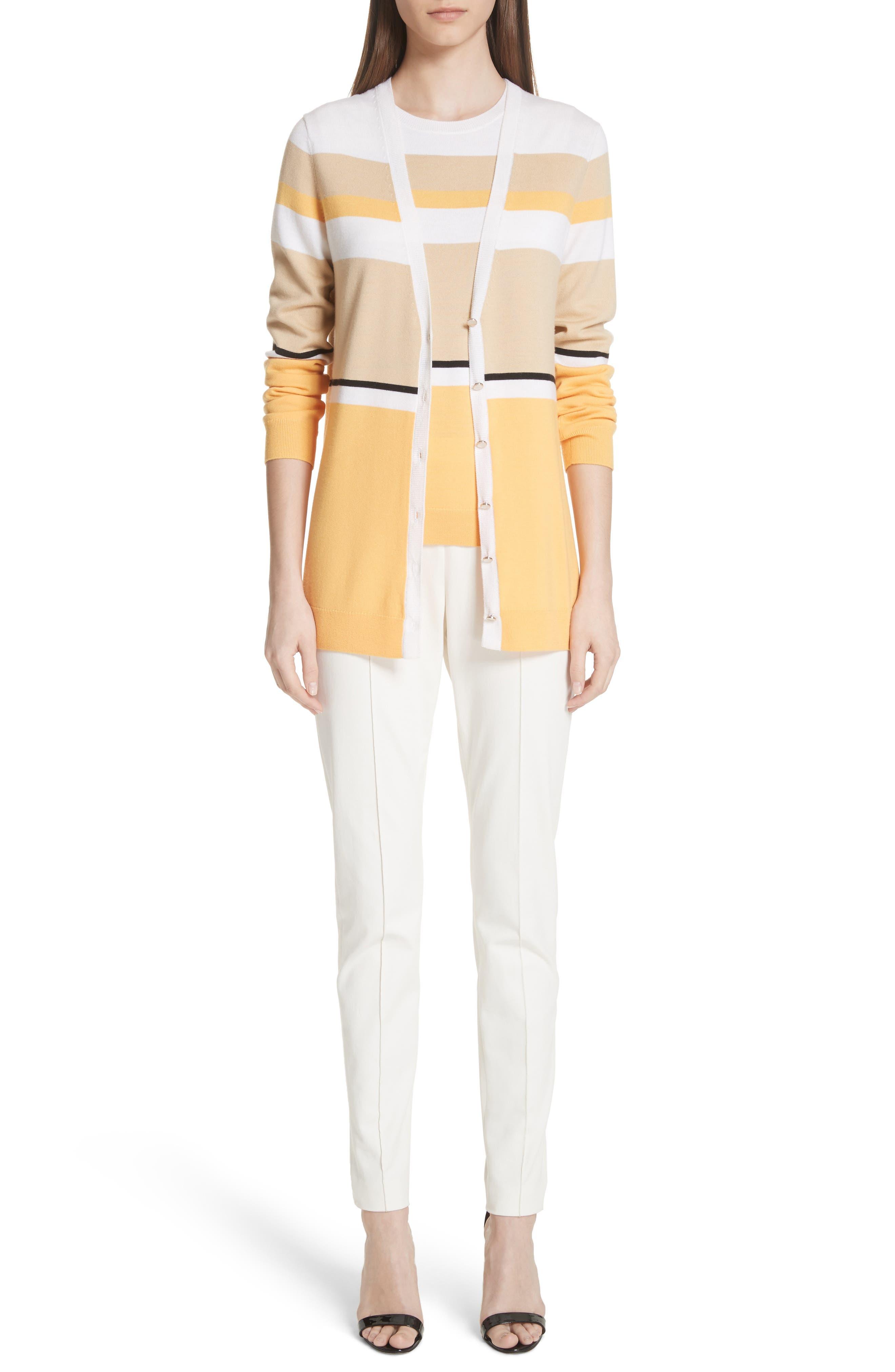 Stripe Jersey Knit Shell,                             Alternate thumbnail 7, color,                             White Multi