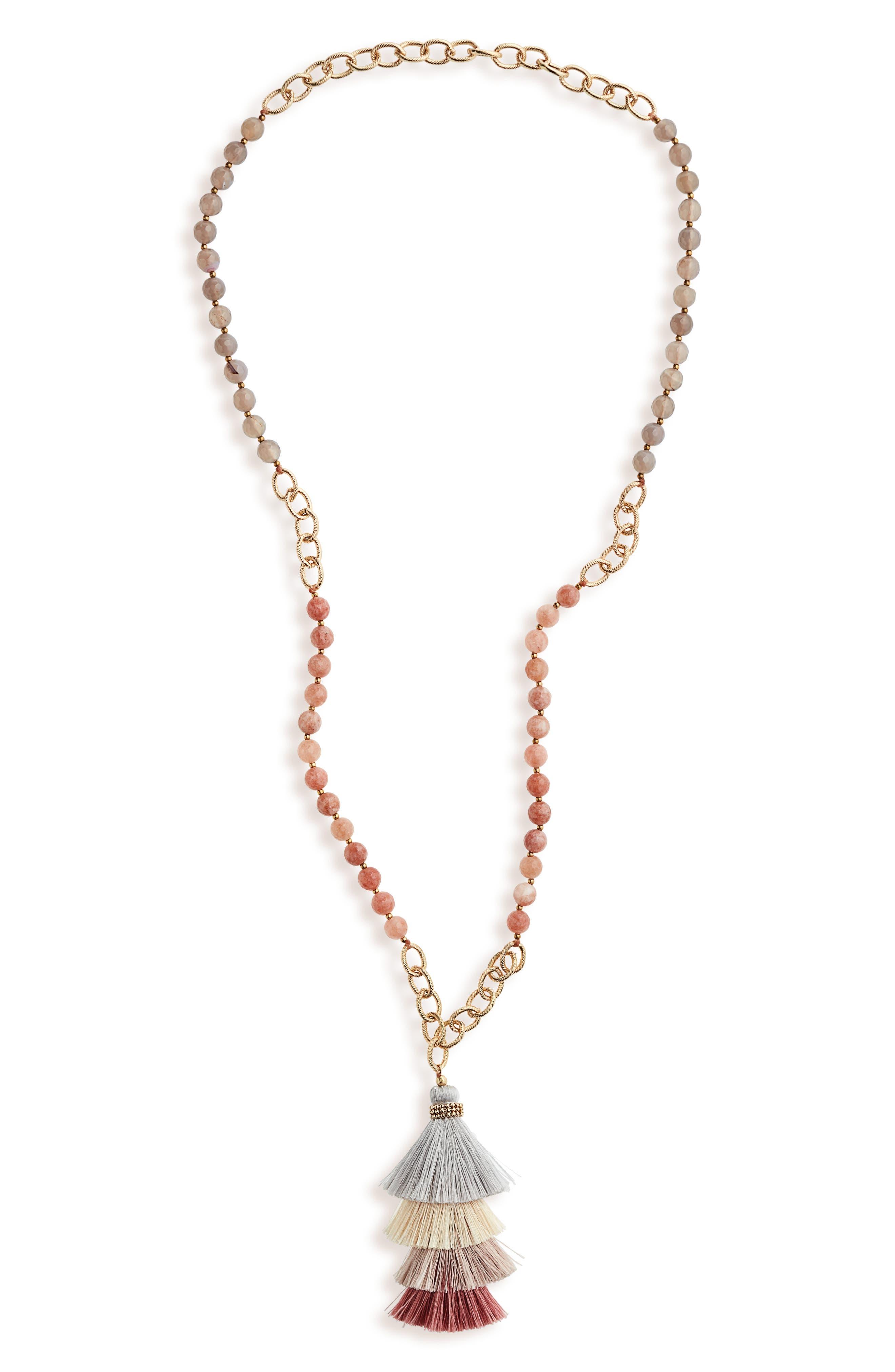 Panacea Moonstone & Quartz Stacked Tassel Necklace