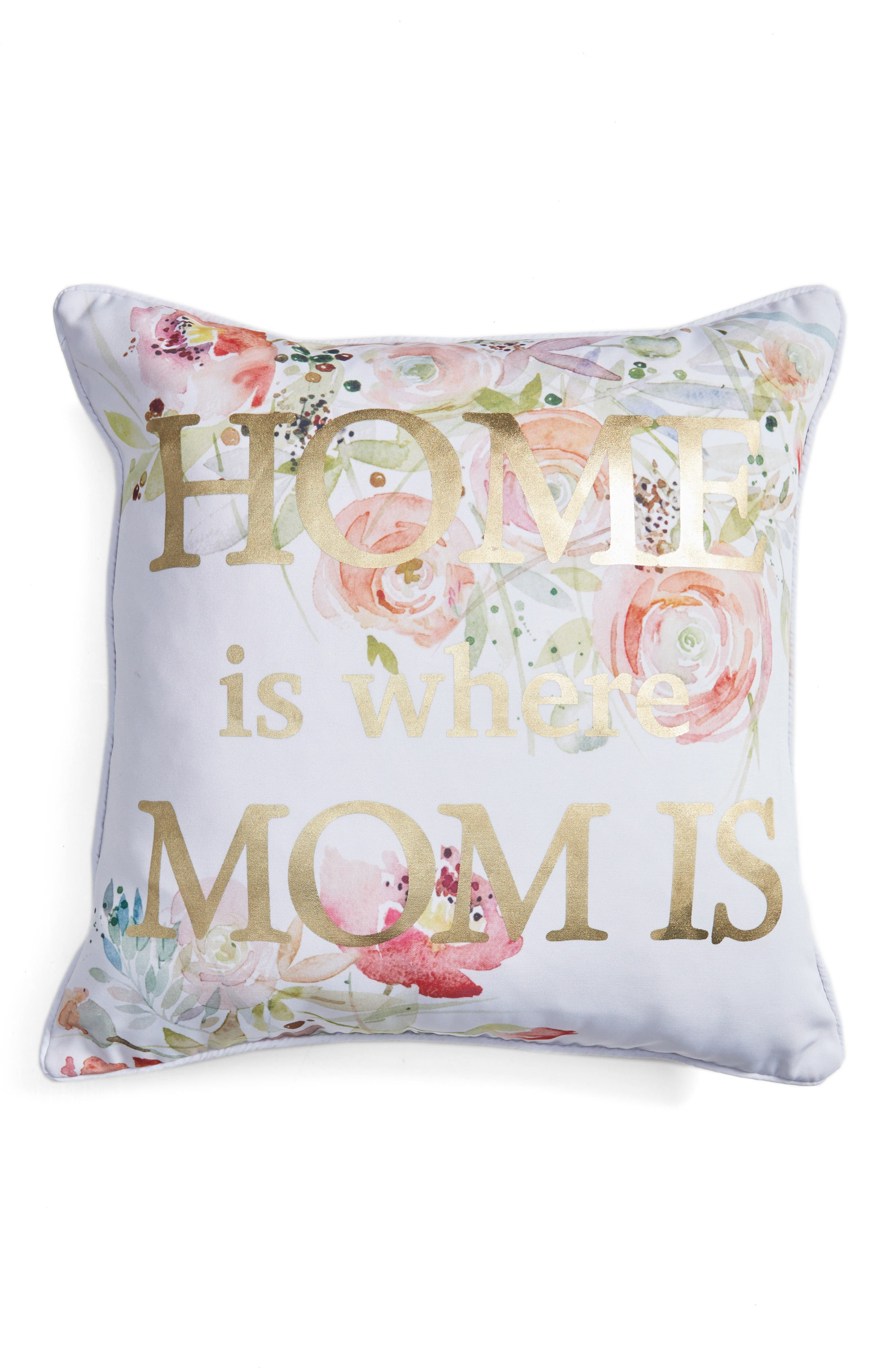 Home Is Where Mom Is Accent Pillow,                             Main thumbnail 1, color,                             White