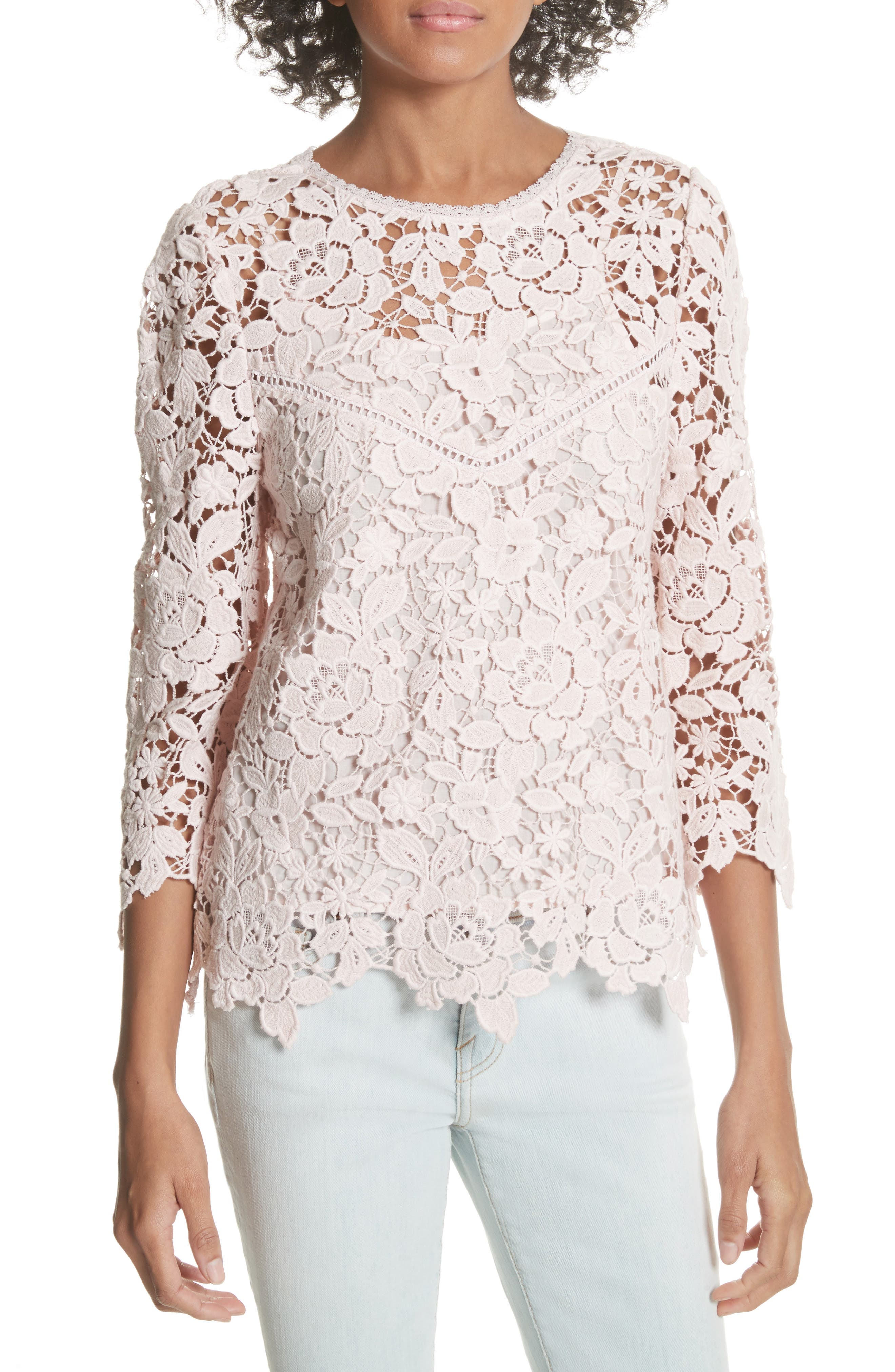Charnette Lace Top,                         Main,                         color, Rosewater