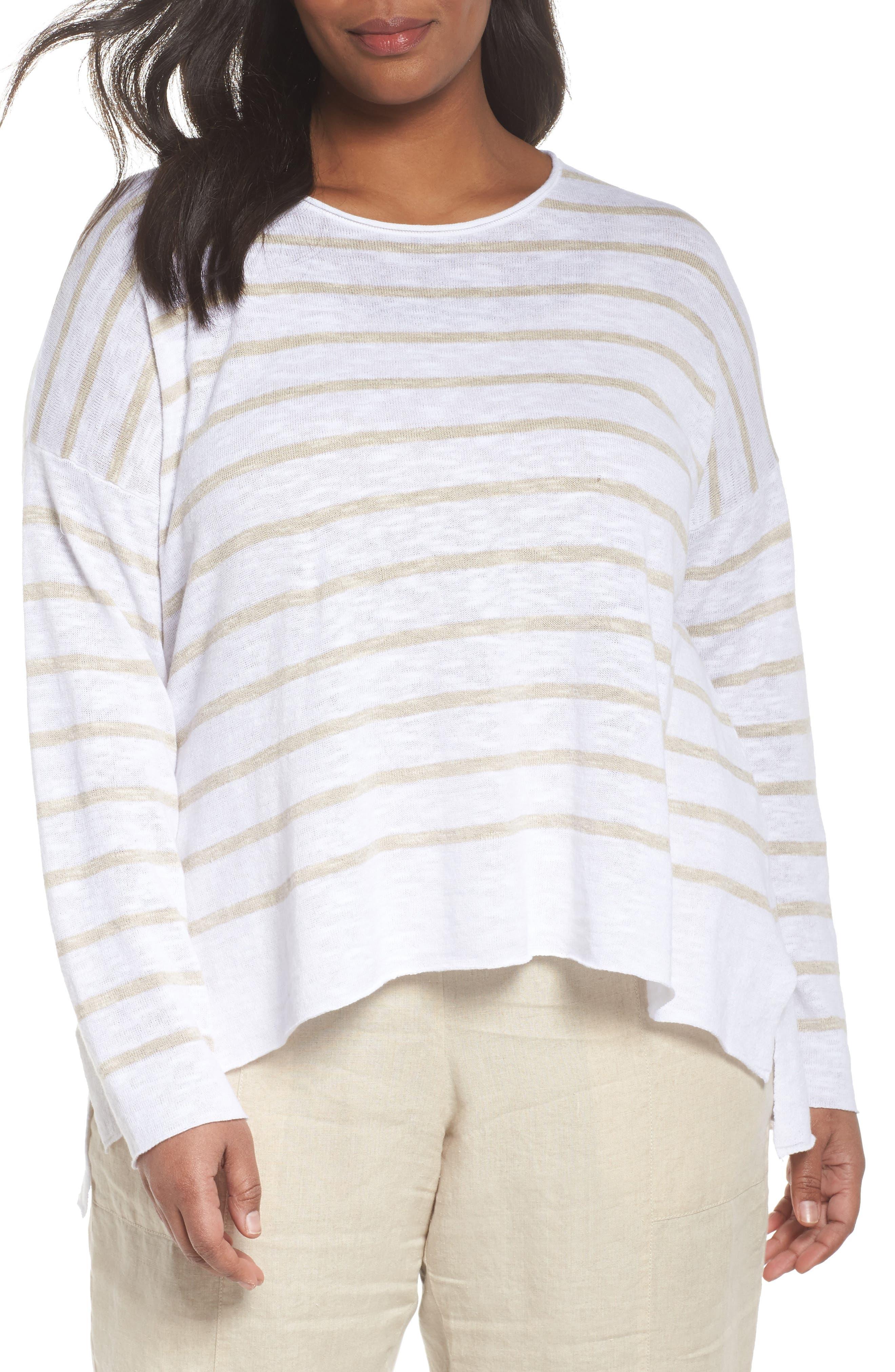 Eileen Fisher Stripe Organic Linen & Cotton Sweater (Plus Size)