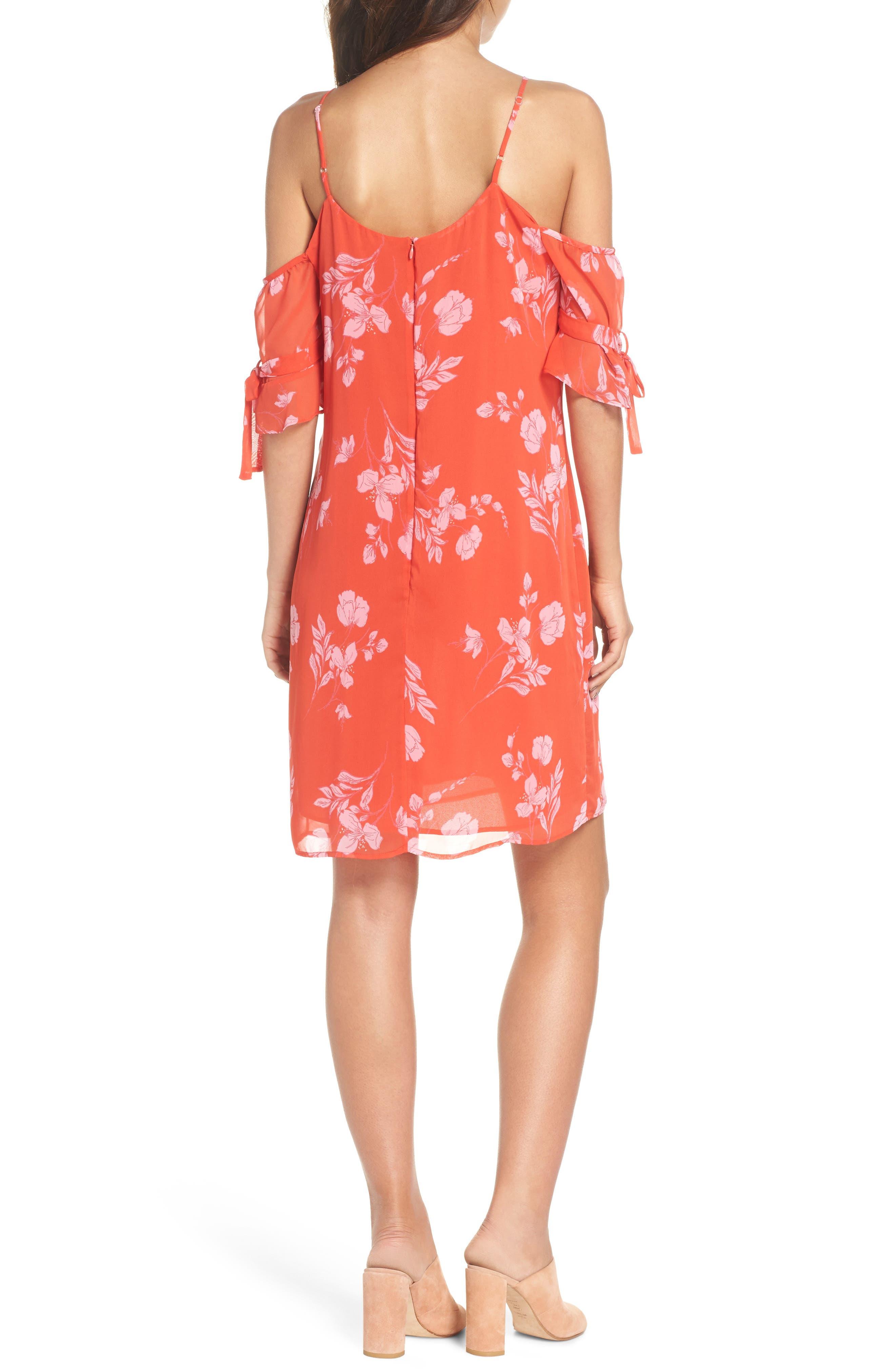 Cold Shoulder Dress,                             Alternate thumbnail 2, color,                             Coral Multi