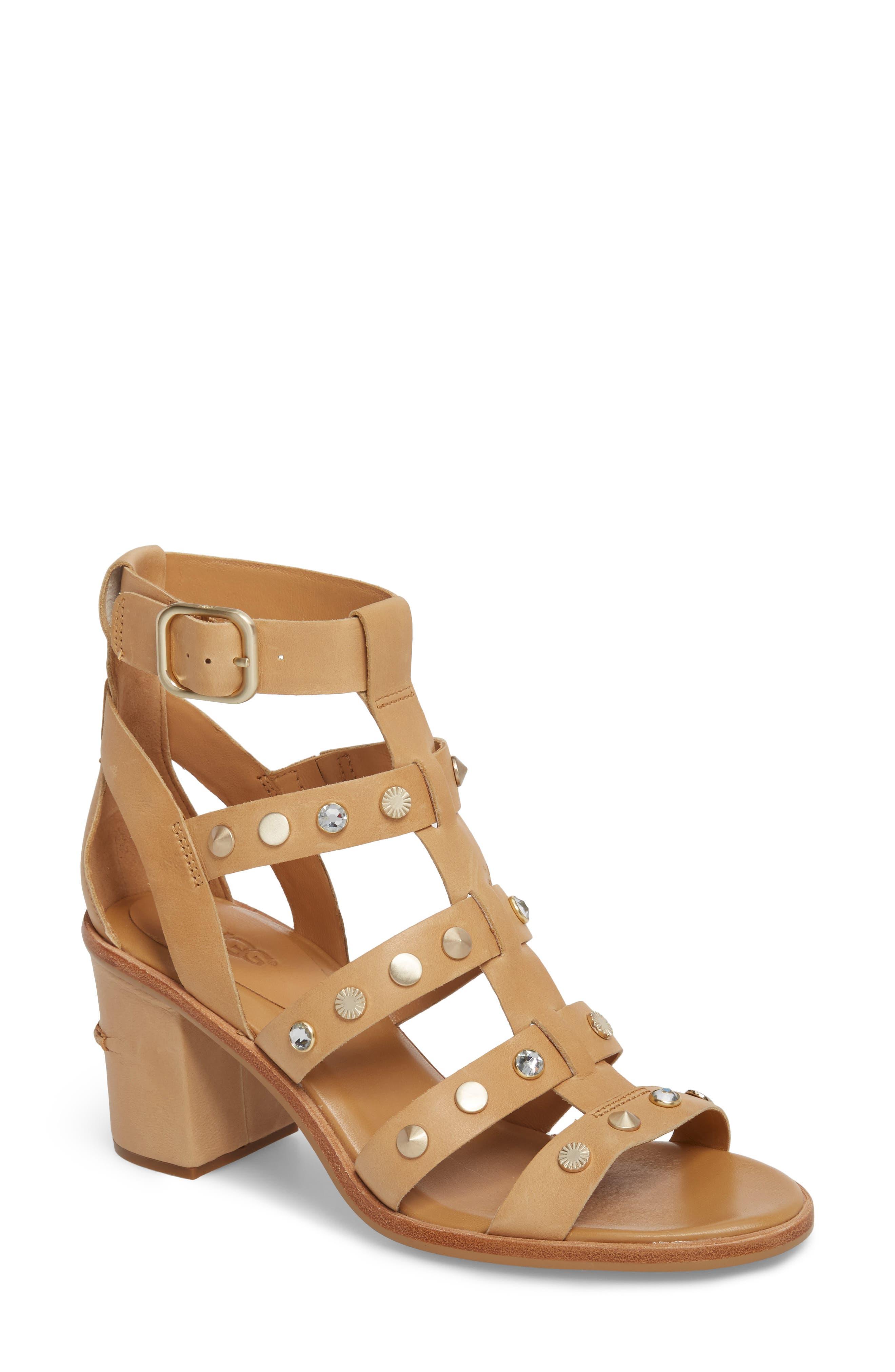 Macayla Studded Sandal,                         Main,                         color, Latte Suede