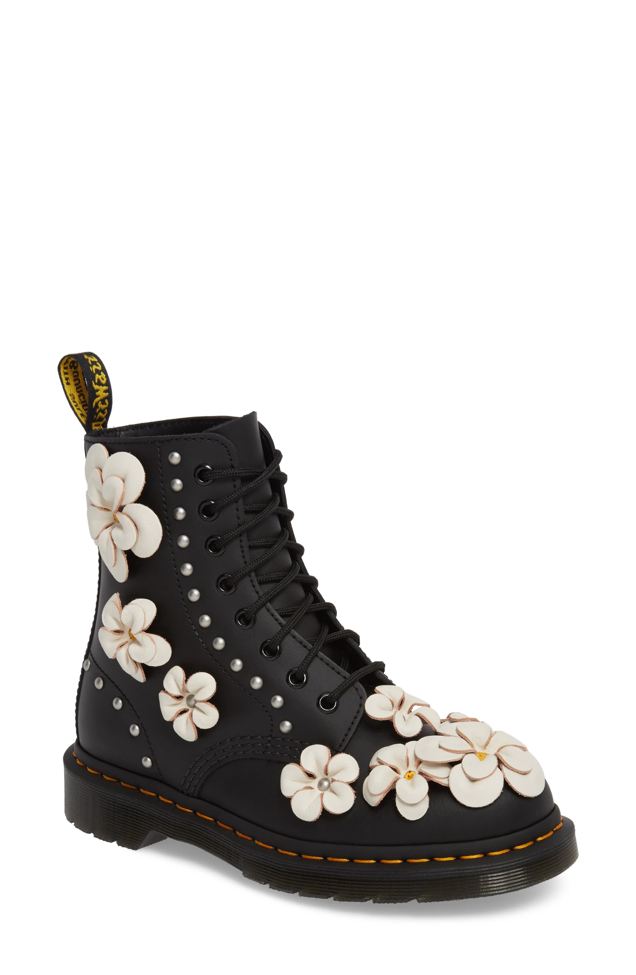 Pascal Flower Boot,                             Main thumbnail 1, color,                             Black Leather